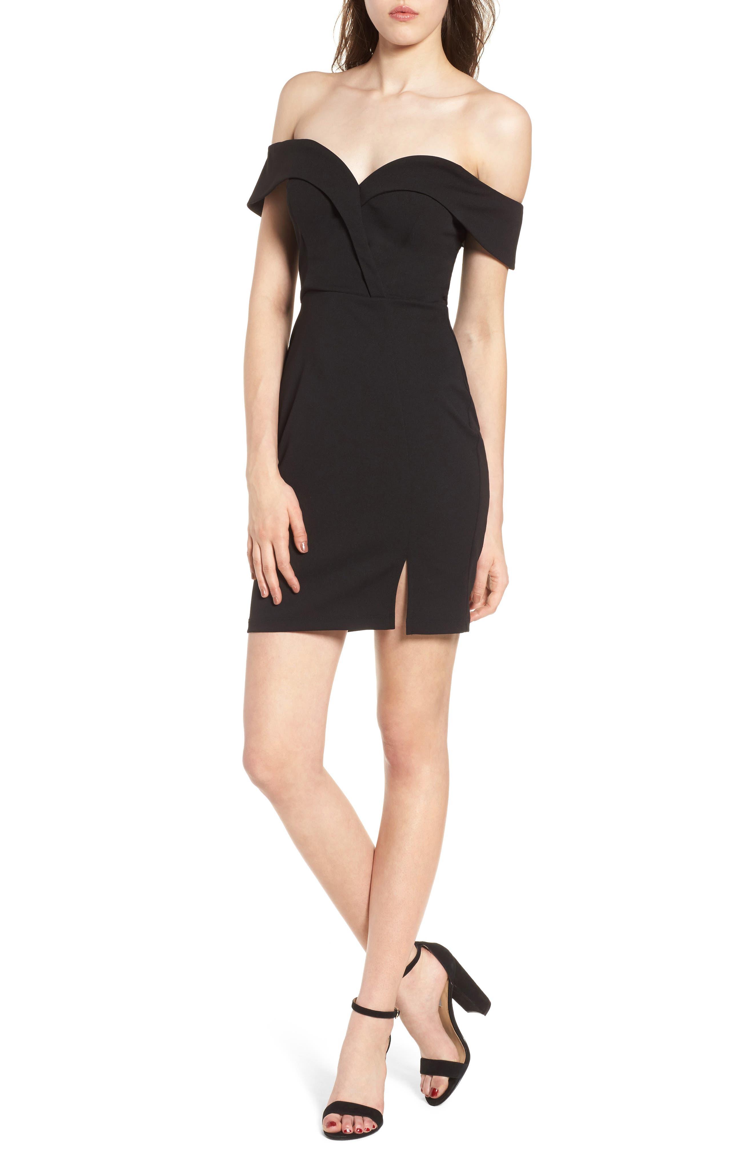 Over Shoulders Black Dresses