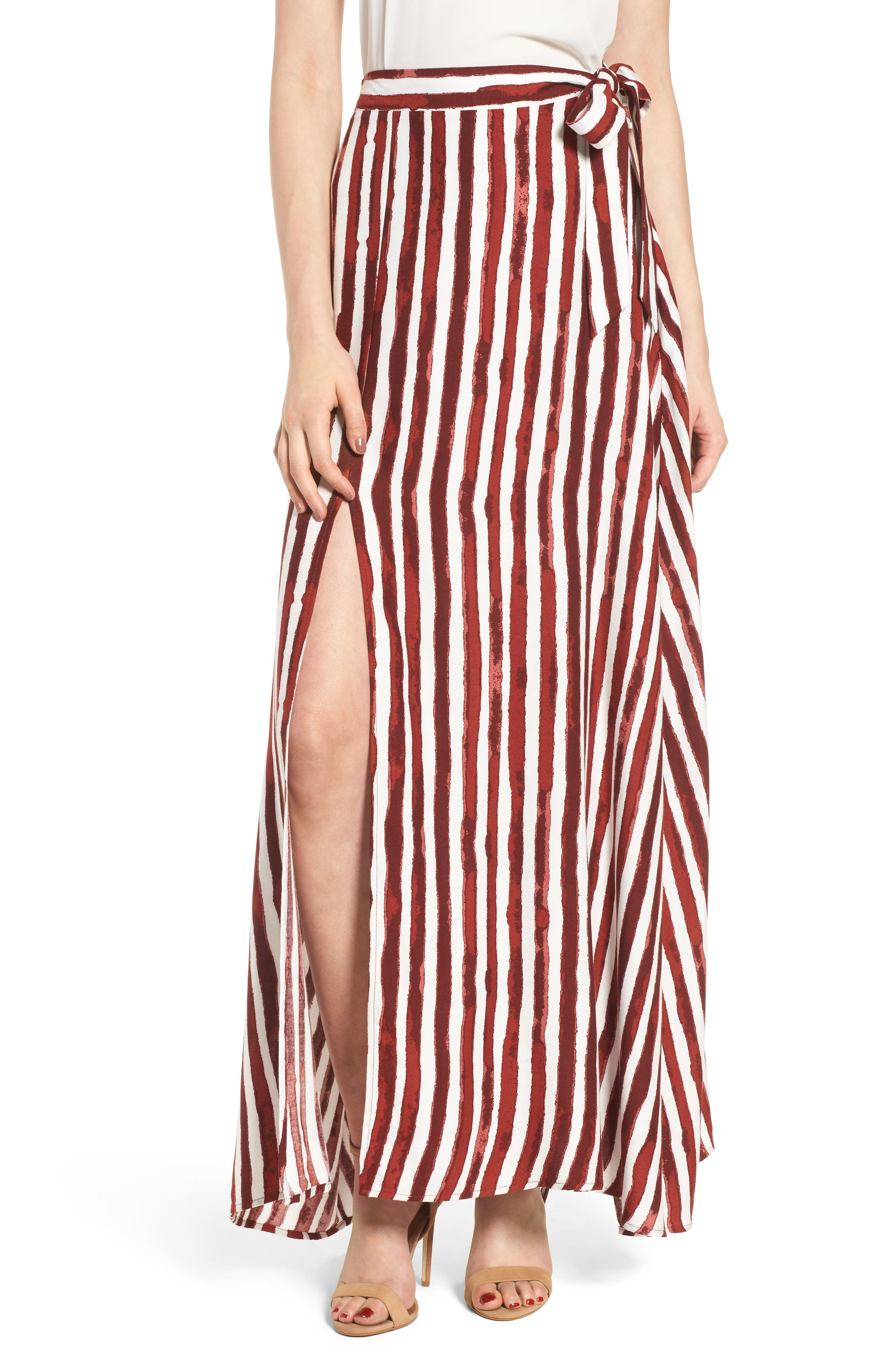 Maxi Skirt,                             Main thumbnail 1, color,                             Burgundy/ Ivory