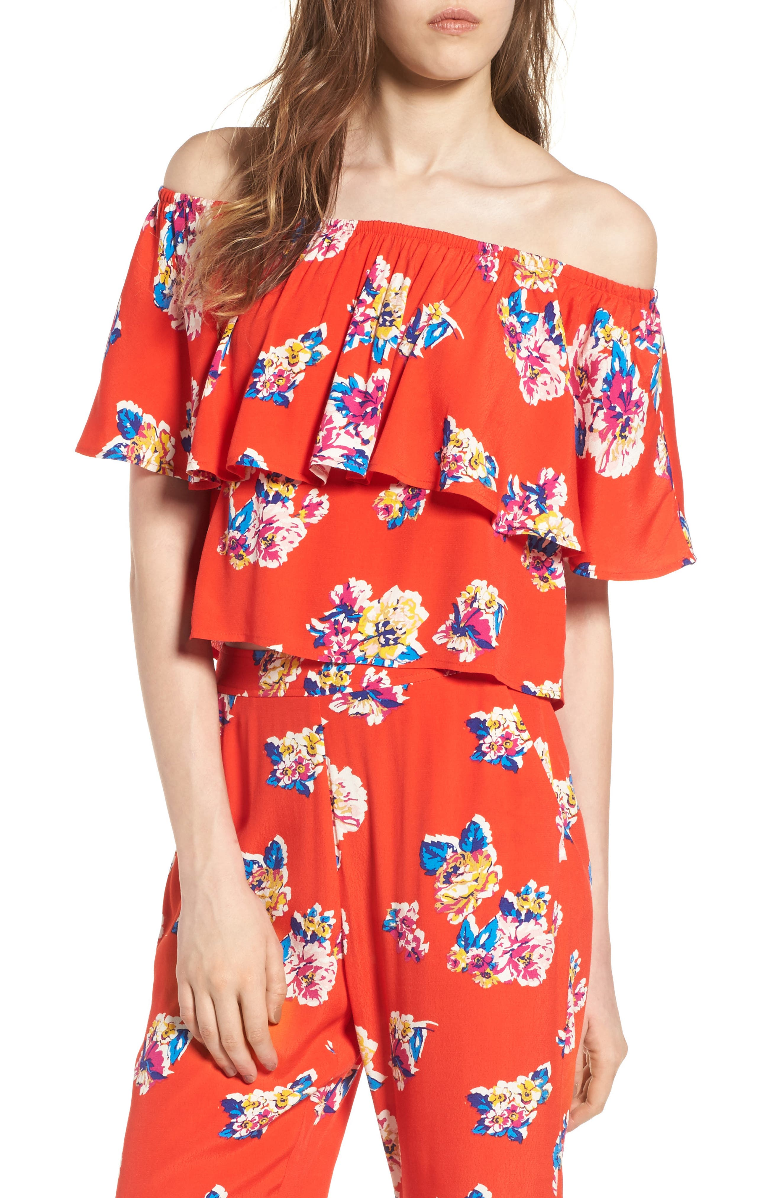 Print Ruffle Off the Shoulder Top,                             Main thumbnail 1, color,                             Red Fiery Bold Bloom