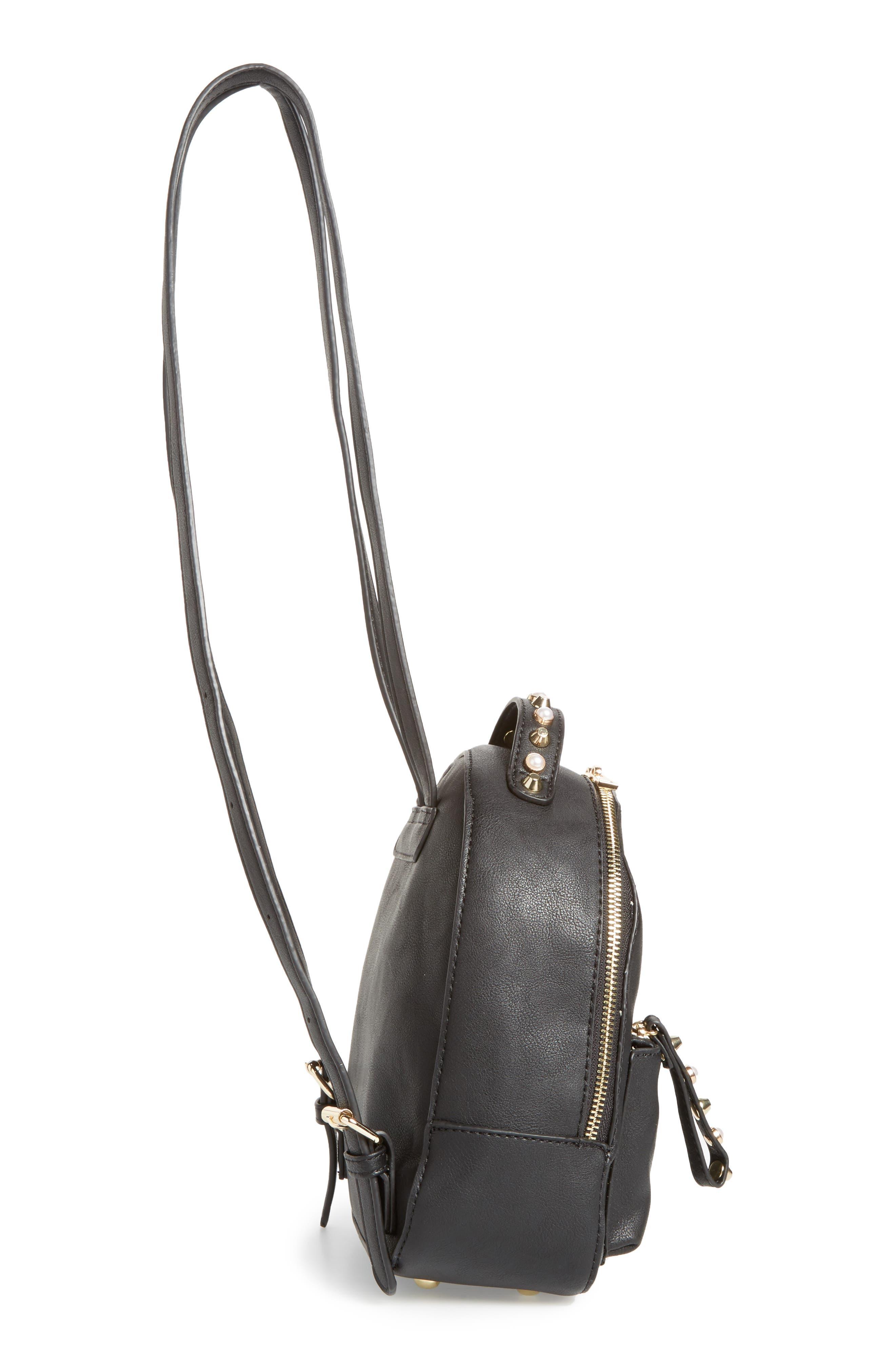 Embellished Faux Leather Backpack,                             Alternate thumbnail 4, color,                             Black