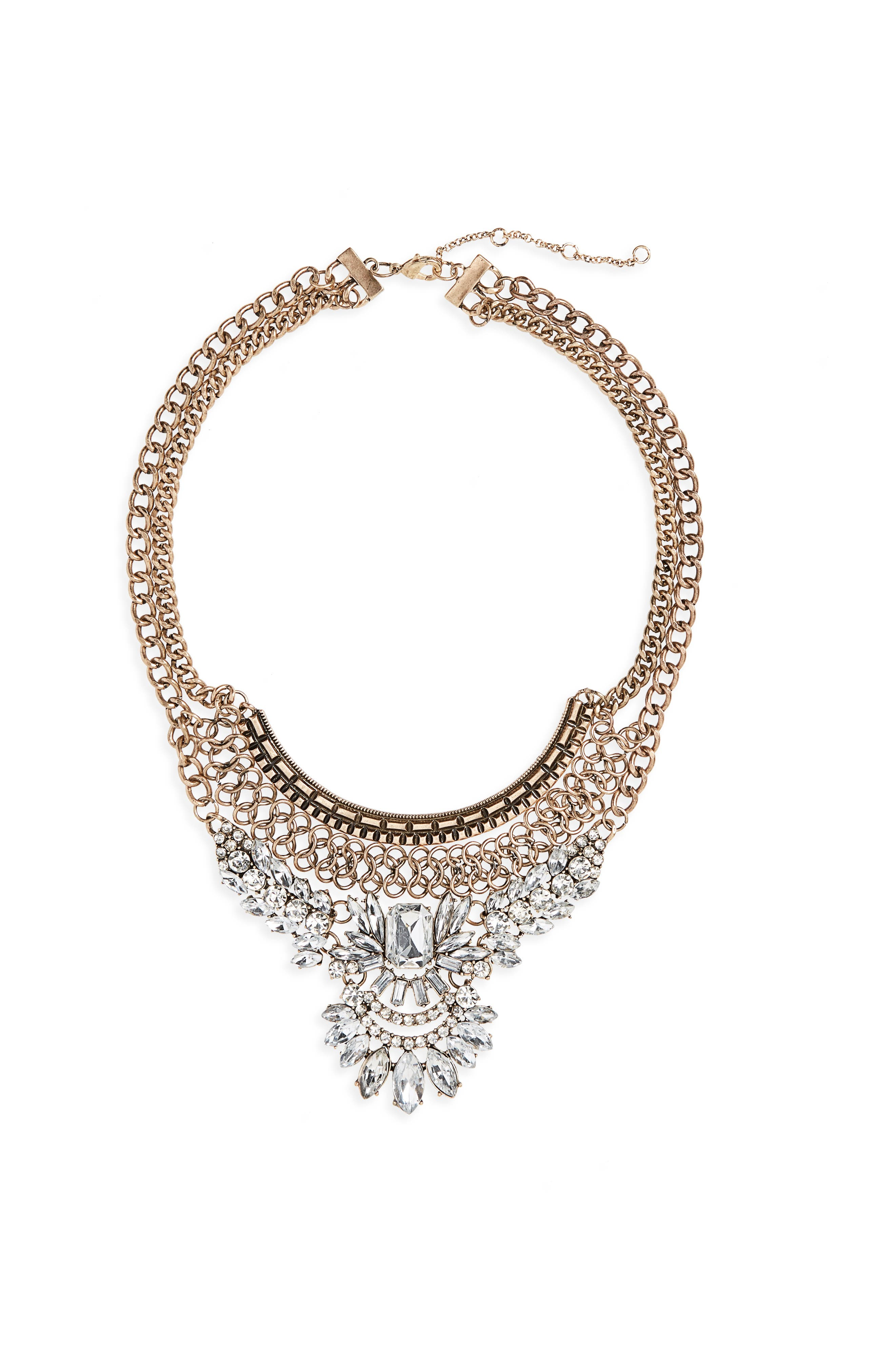 Opulent Crystal Collar Necklace,                         Main,                         color, Gold/ Crystal