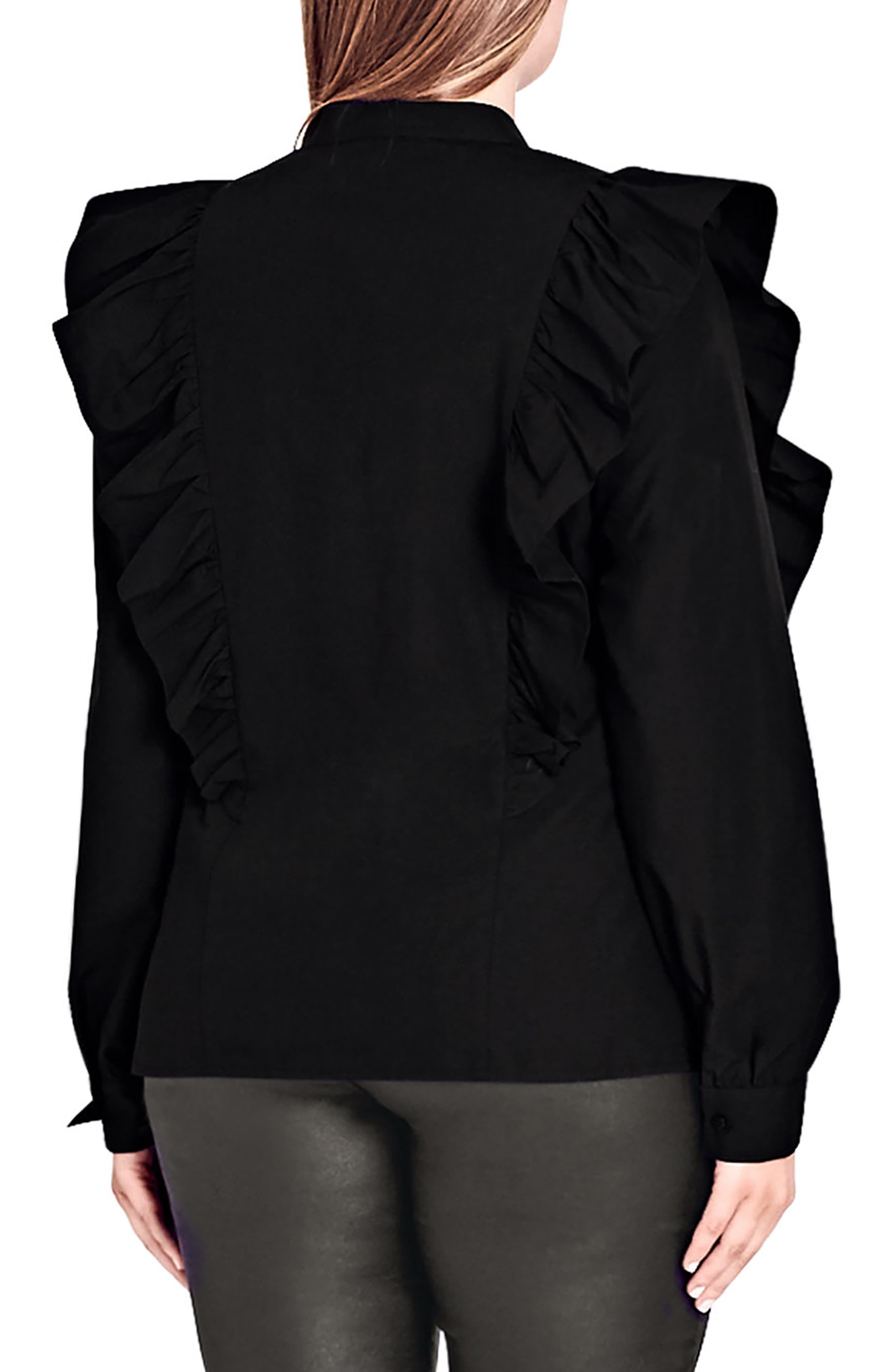 Ruffle Front Shirt,                             Alternate thumbnail 2, color,                             Black