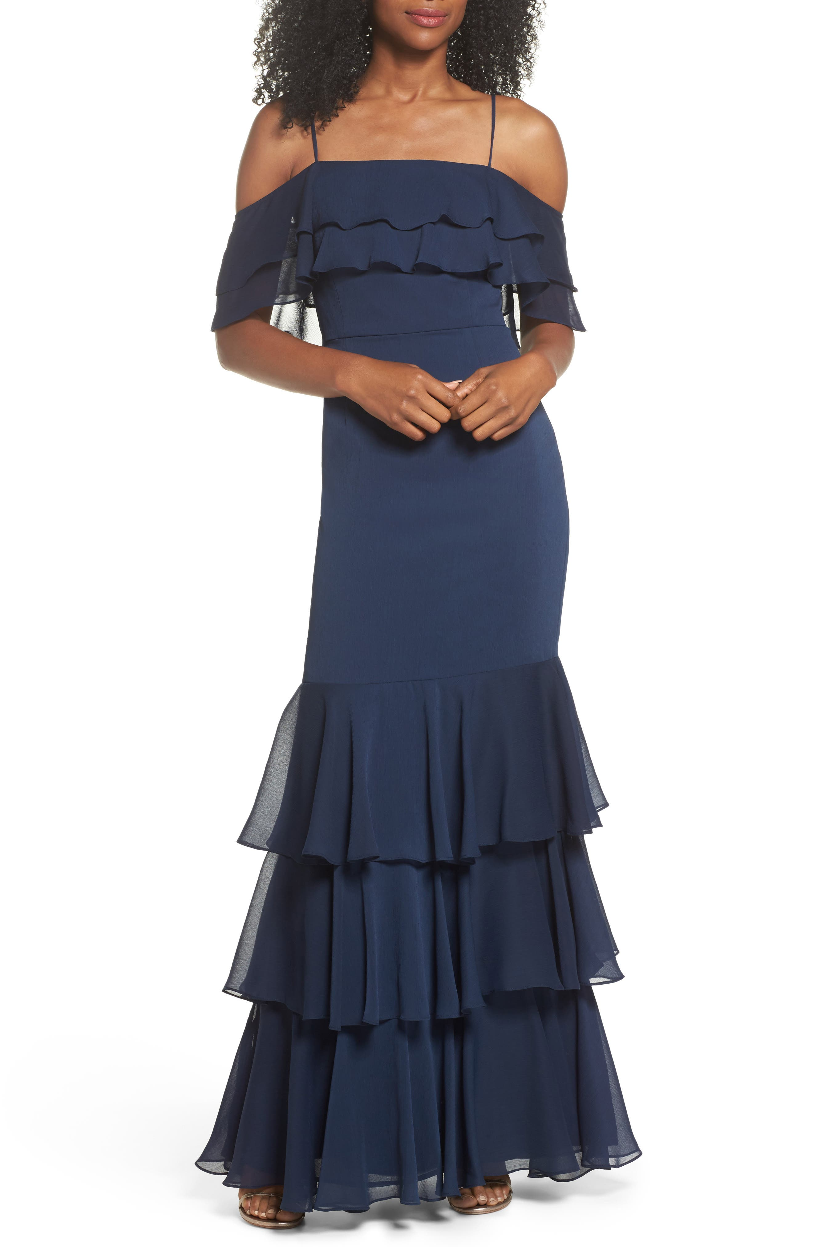 Lauren Cold Shoulder Tiered Gown,                             Main thumbnail 1, color,                             Navy