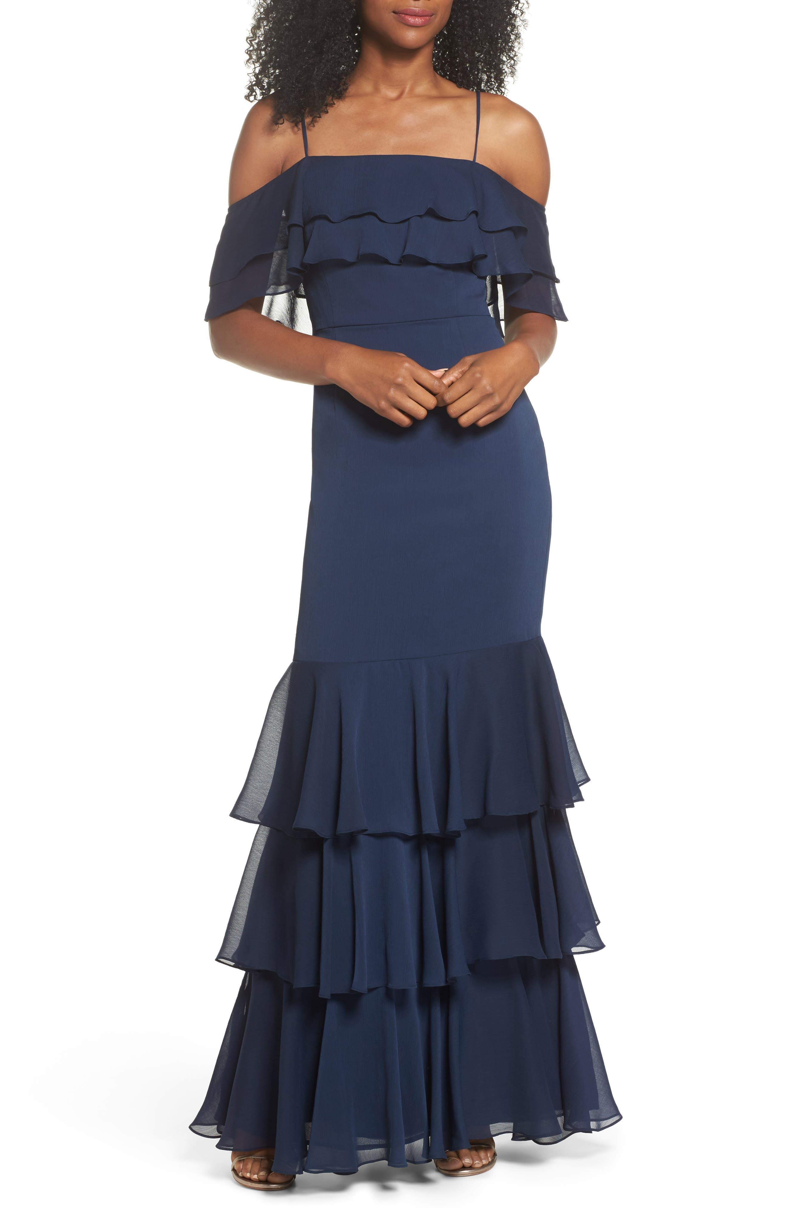 Lauren Cold Shoulder Tiered Gown,                         Main,                         color, Navy