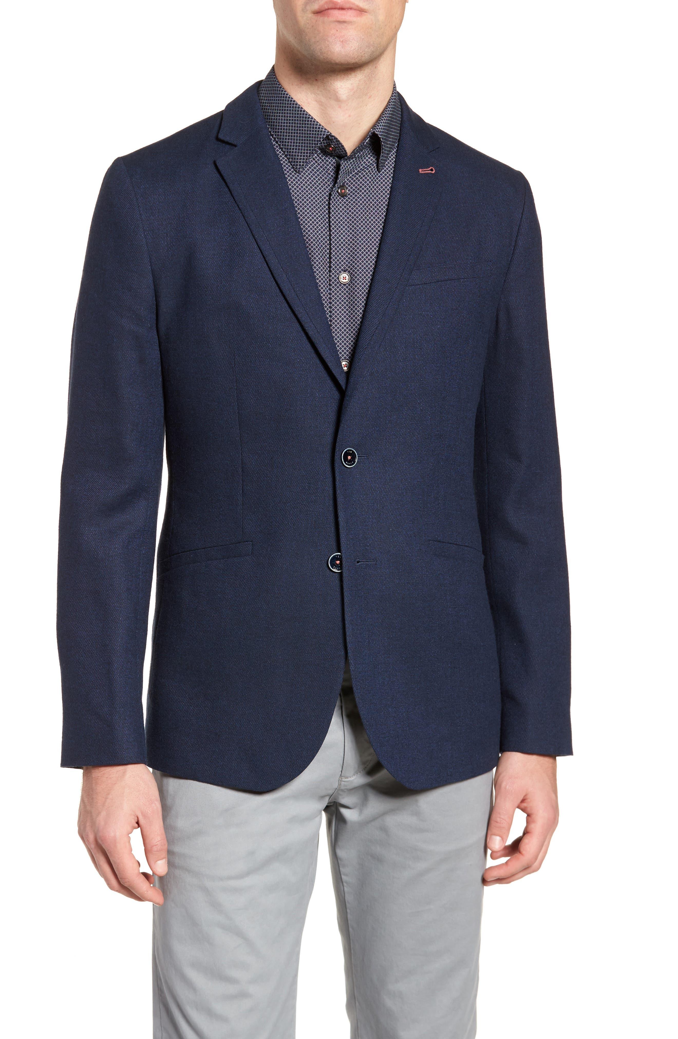 Hines Trim Fit Linen Blend Blazer,                         Main,                         color, Navy