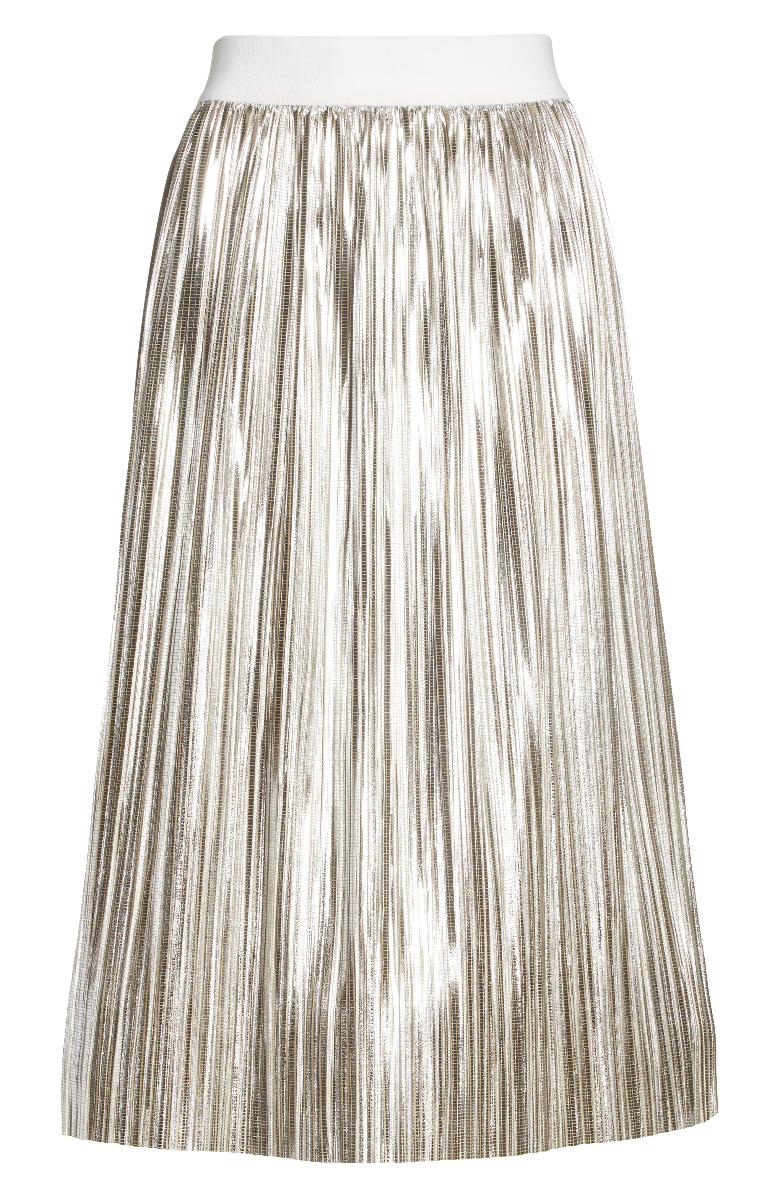 Mikaela Pleat Metallic Skirt,                             Alternate thumbnail 6, color,                             Silver Metallic