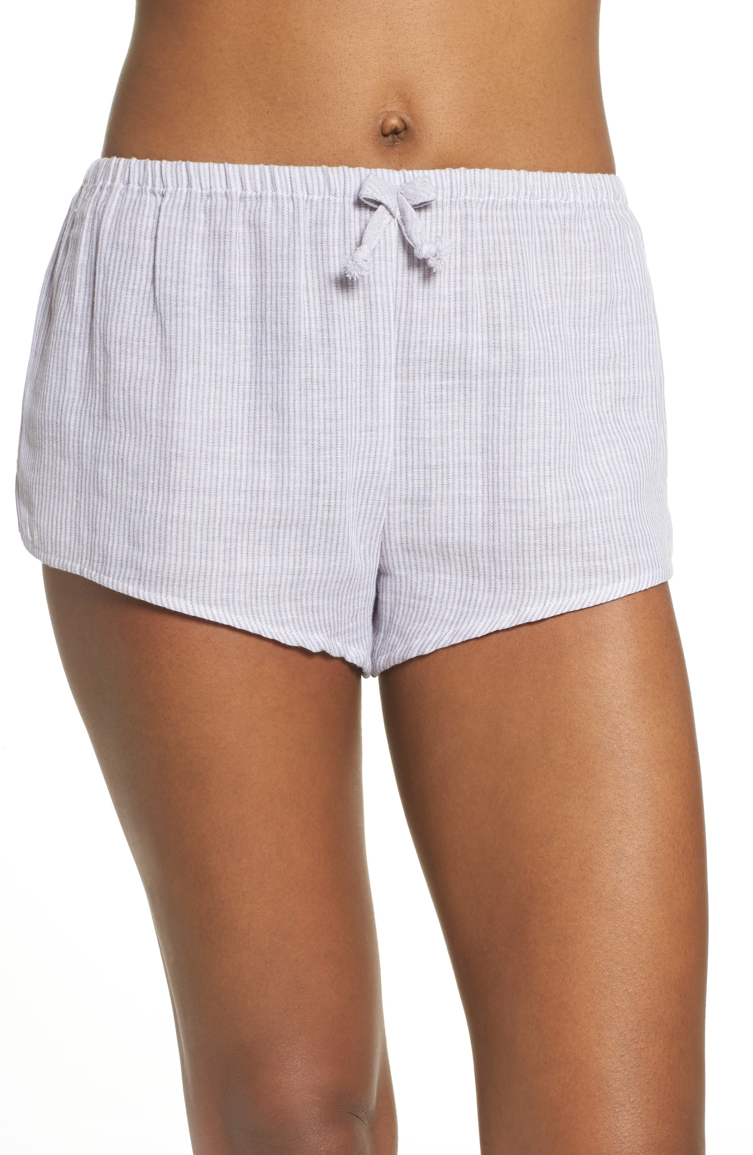 Stripe Pajama Shorts,                             Main thumbnail 1, color,                             Grey/ White