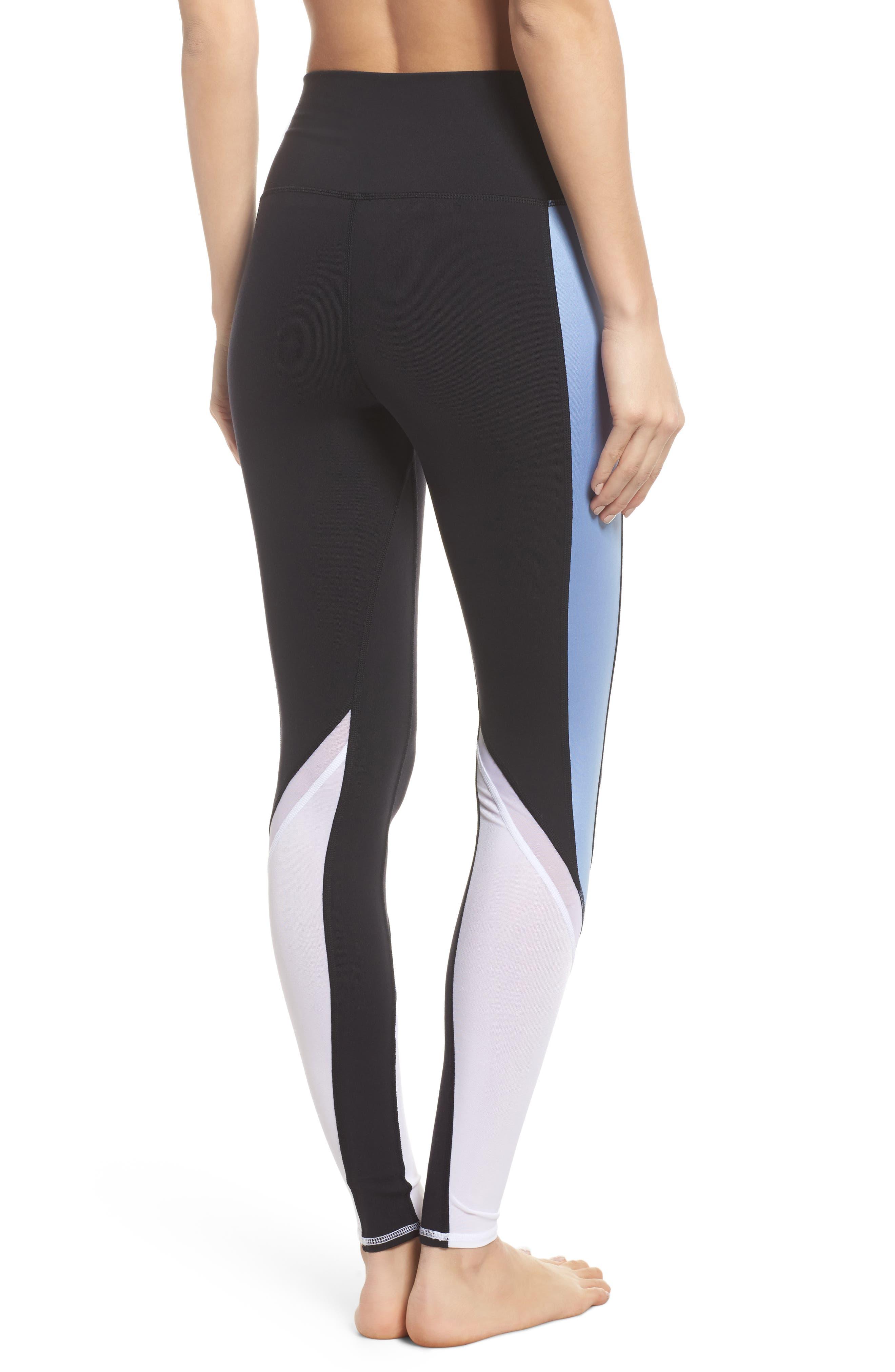 Elevate Leggings,                             Alternate thumbnail 2, color,                             Black/ Uv Blue Glossy/ White