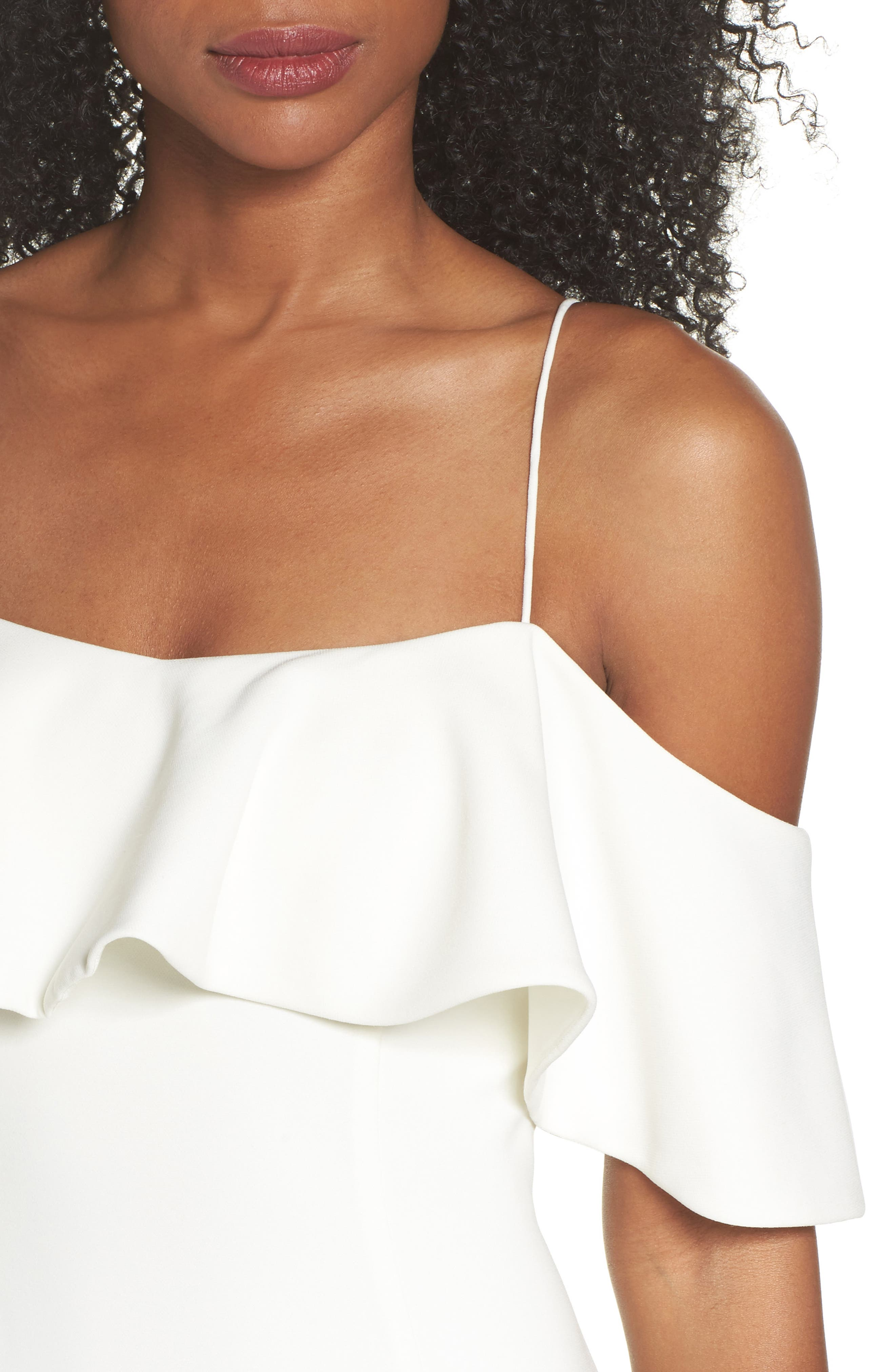 Ruffle Cold Shoulder Gown,                             Alternate thumbnail 3, color,                             Ivy