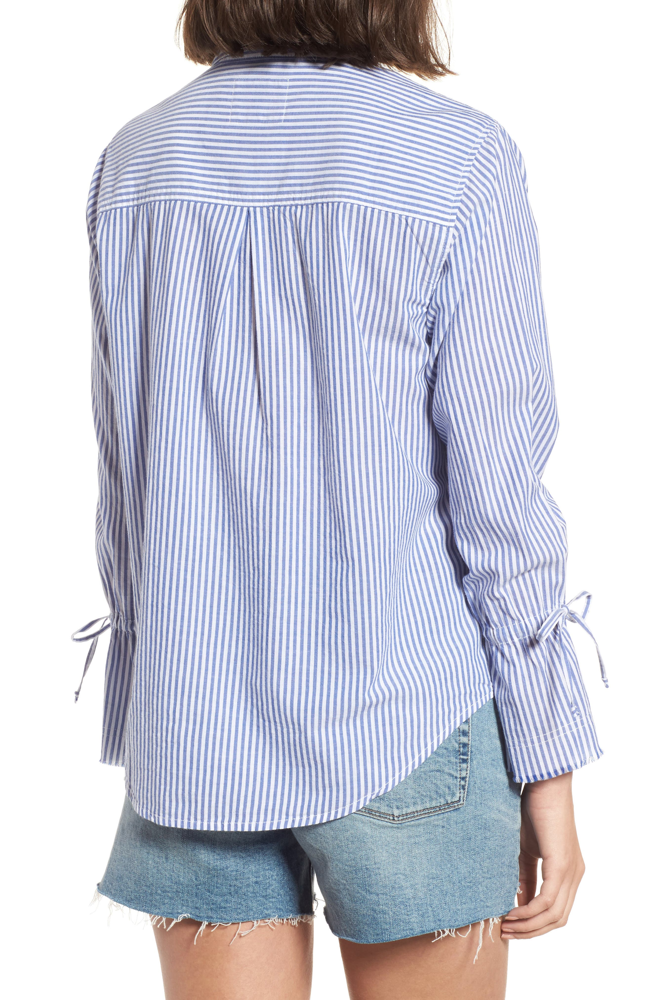 Astrid Tie Cuff Shirt,                             Alternate thumbnail 2, color,                             Banker Stripe