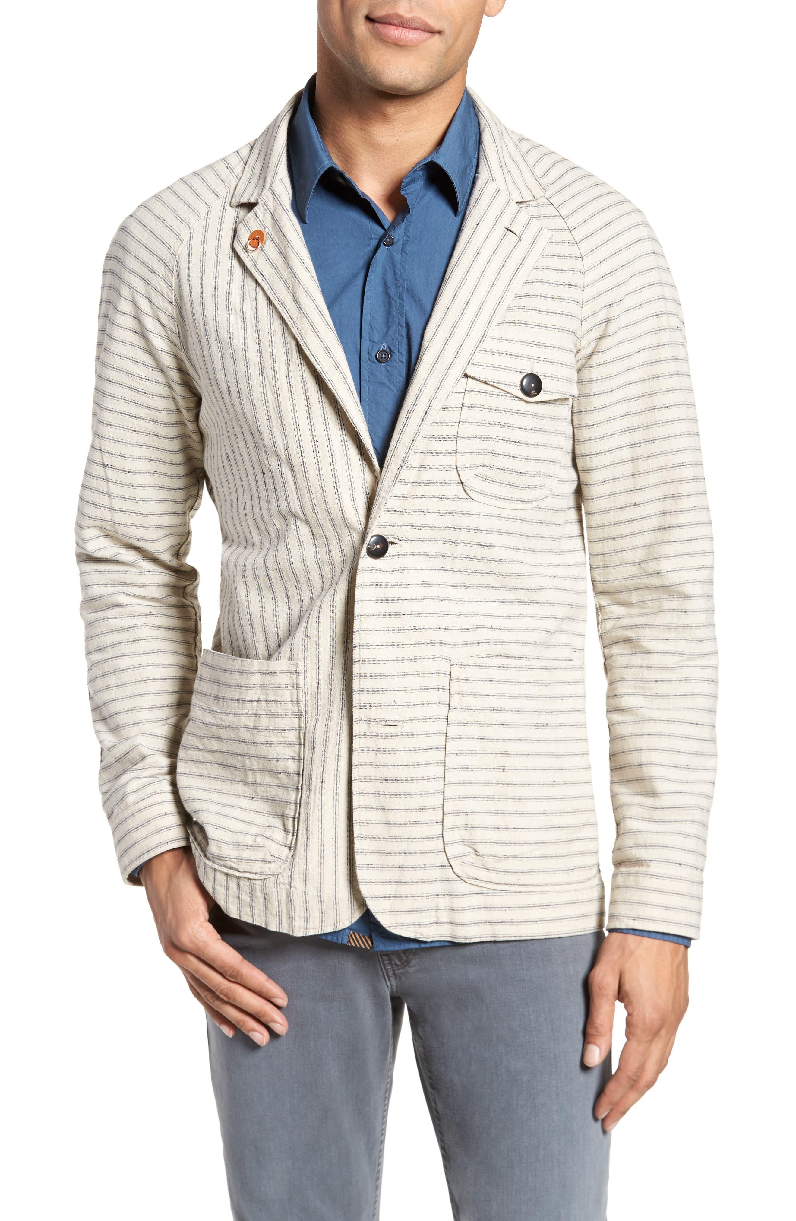 Harrison Linen & Cotton Jacket,                         Main,                         color, Natural Stripe