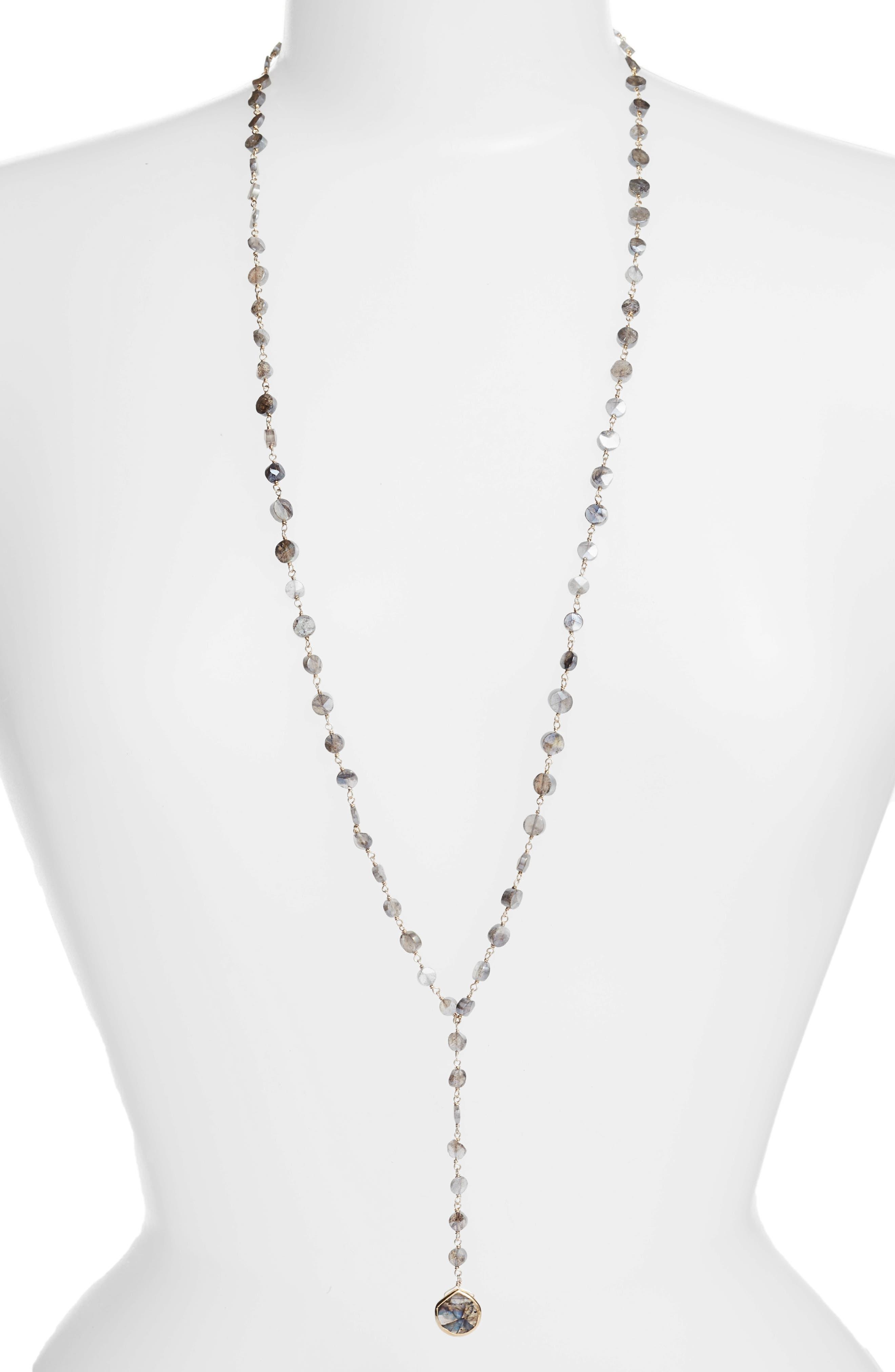 Yaeli Coin Semiprecious Stone Y-Necklace,                             Main thumbnail 1, color,                             Mystic Labradorite