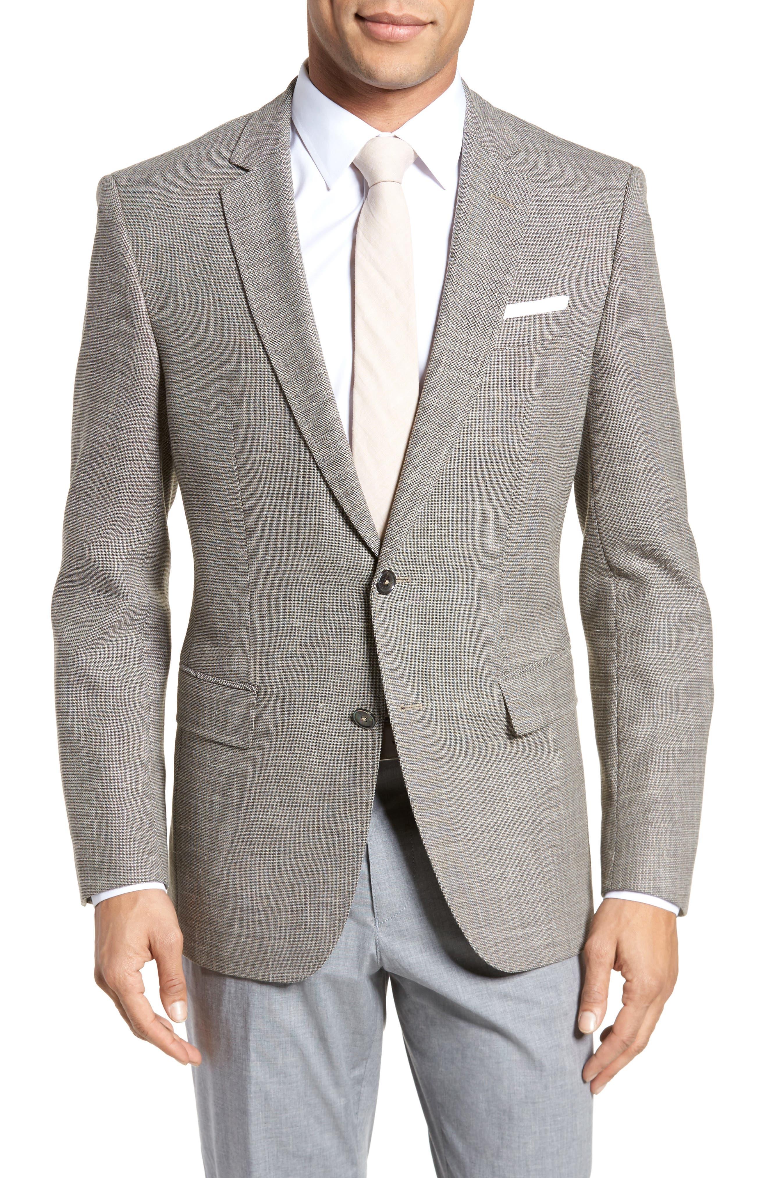 Hutsons Trim Fit Stretch Blazer,                         Main,                         color, Medium Beige