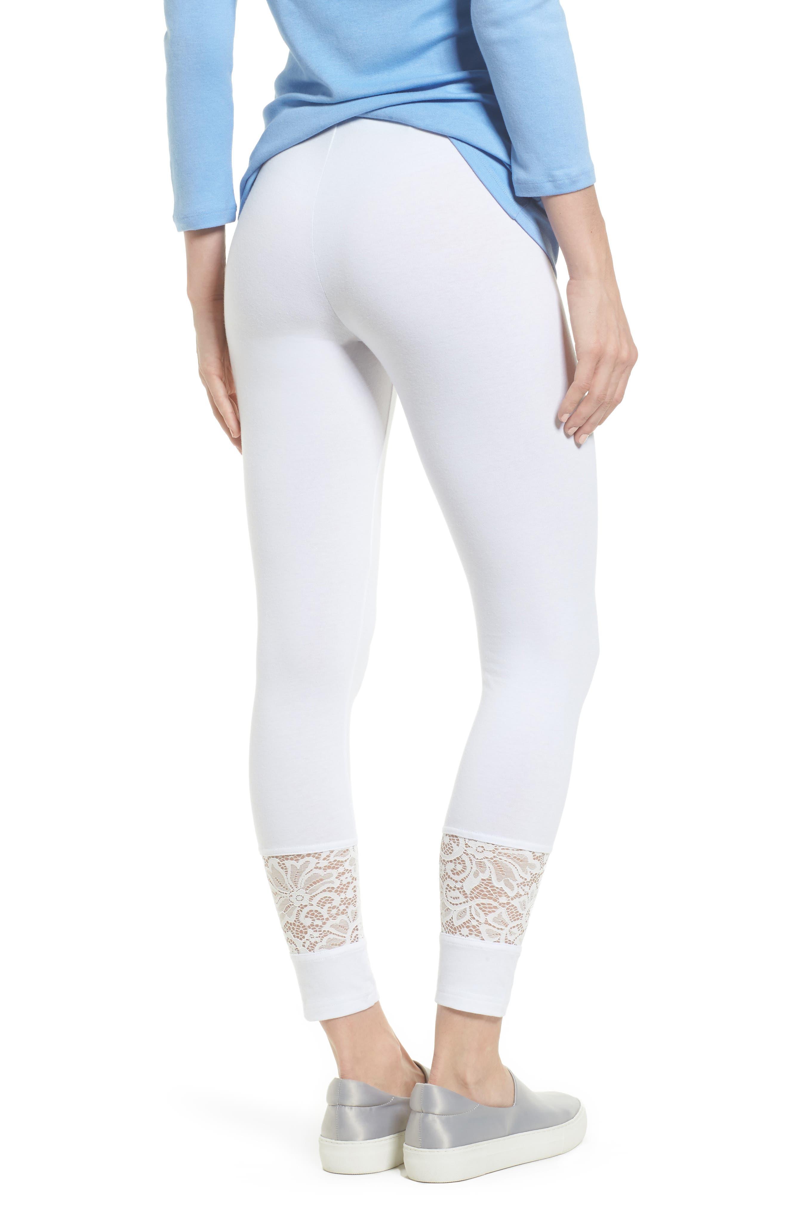 Lace Block Skimmer Leggings,                             Alternate thumbnail 2, color,                             White