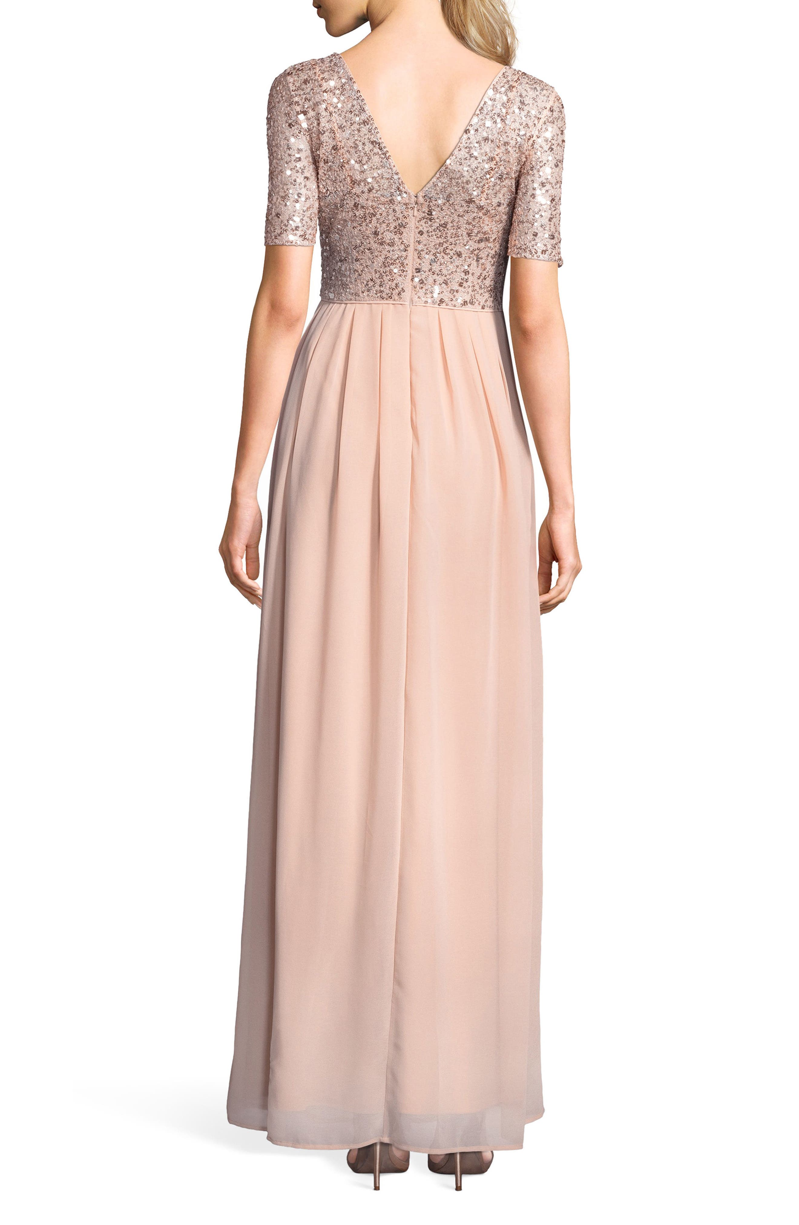 Beaded Bodice Georgette Gown,                             Alternate thumbnail 2, color,                             English Rose