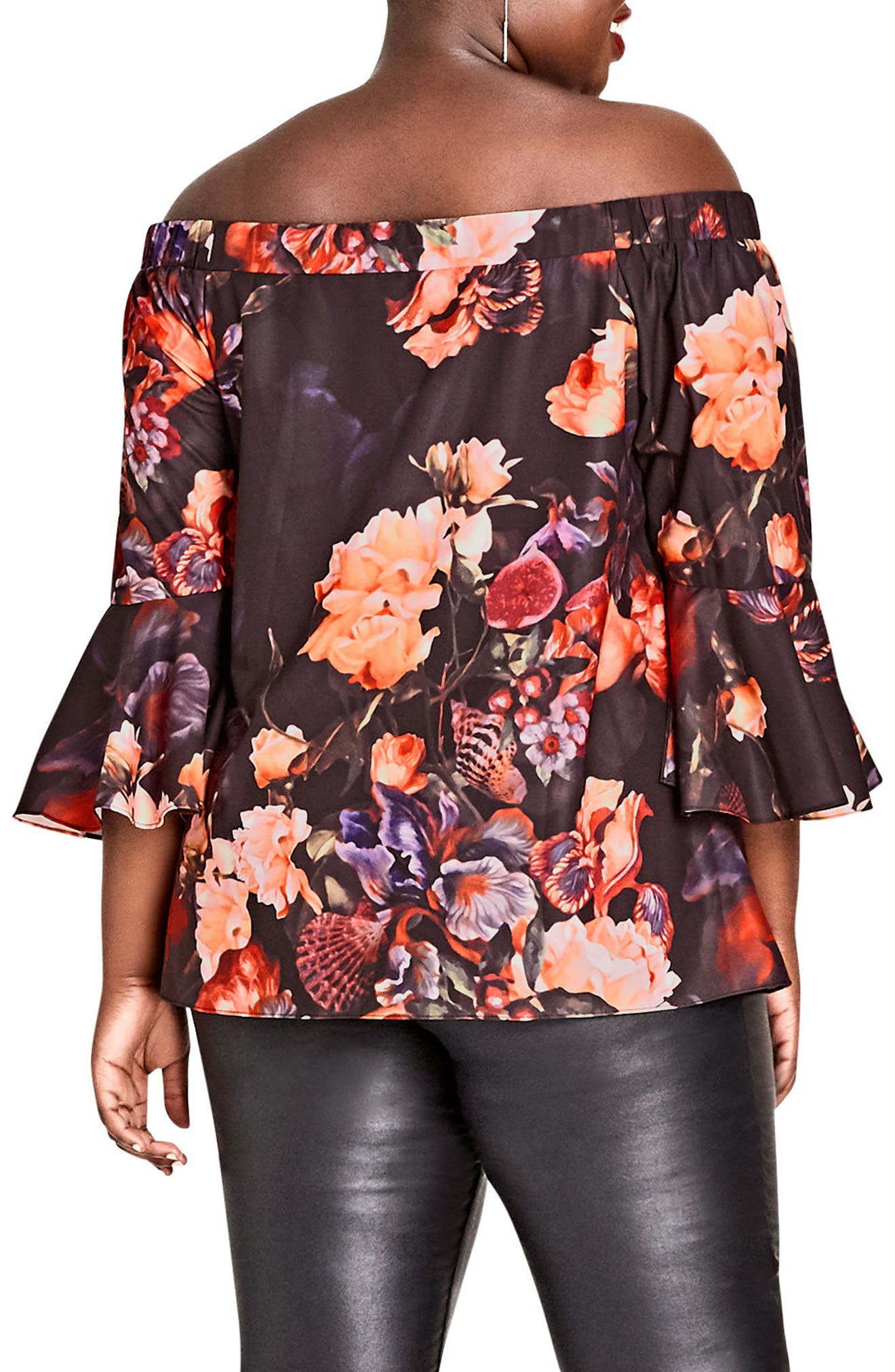 Alternate Image 2  - City Chic Opulence Off the Shoulder Bell Sleeve Top (Plus Size)