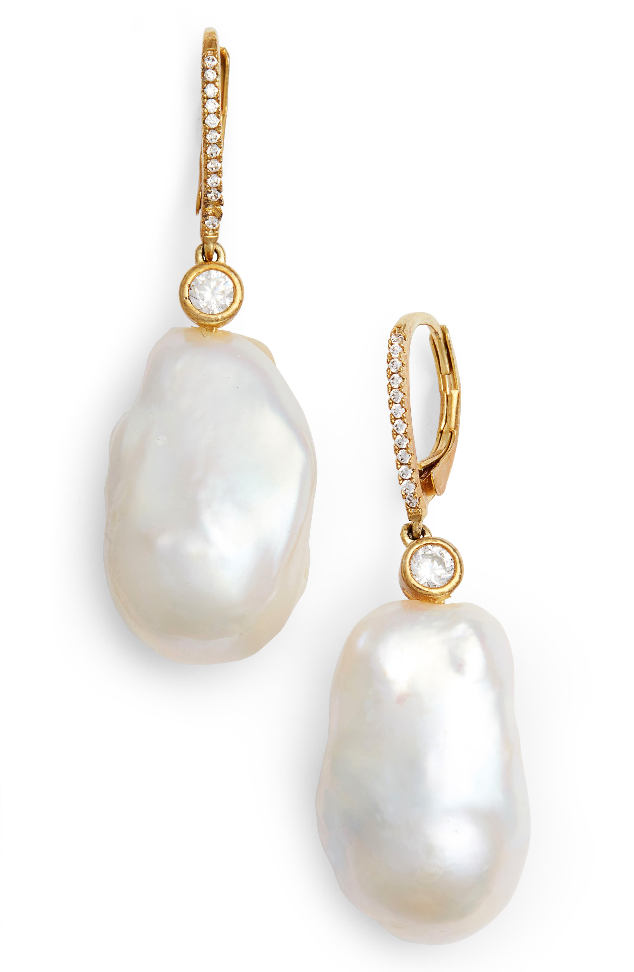 Baroque Pearl Earrings,                             Main thumbnail 1, color,                             Gold/ Baroque Pearl/ White Cz