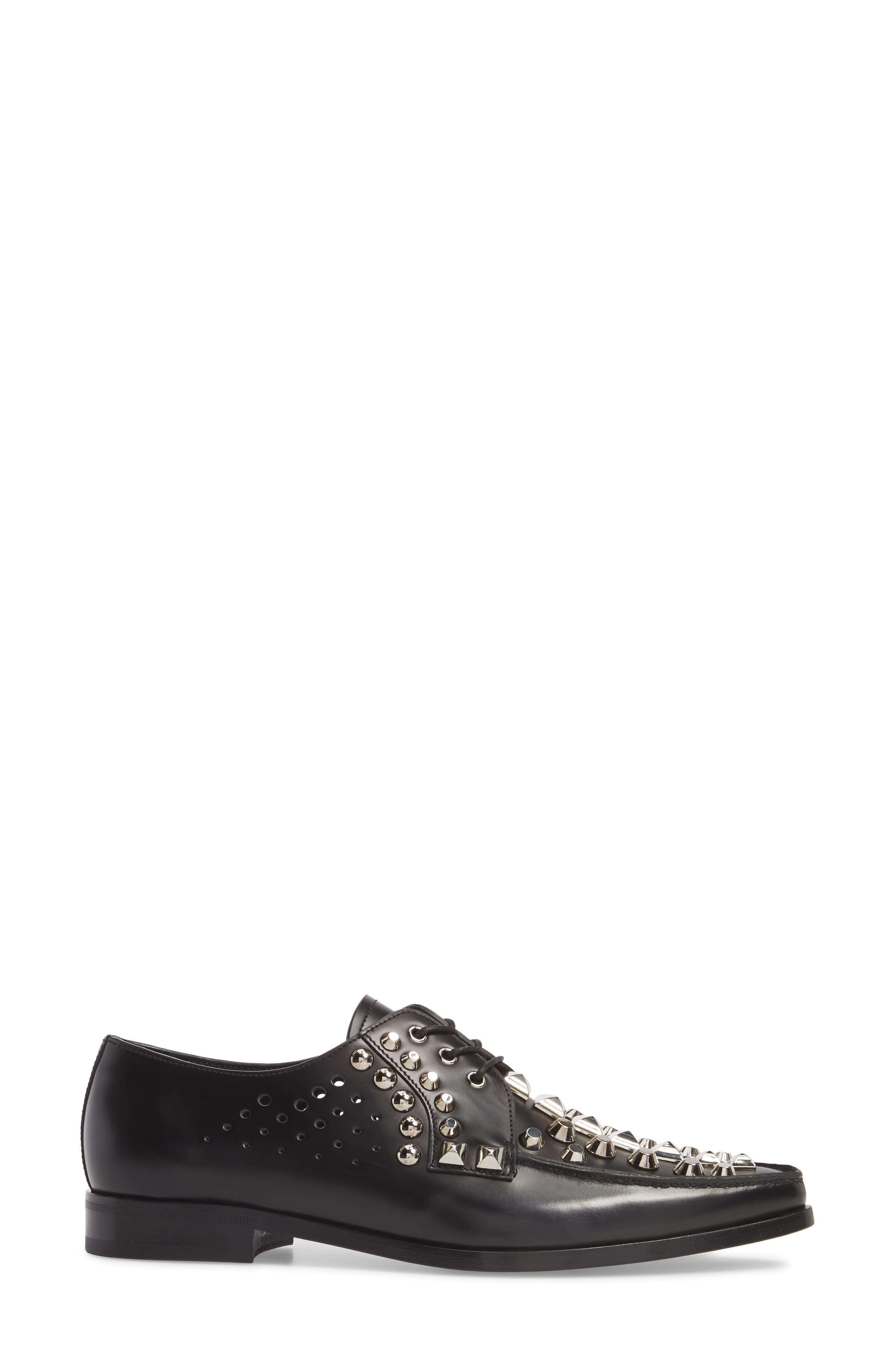 Studded Pointy Toe Oxford,                             Alternate thumbnail 3, color,                             Black