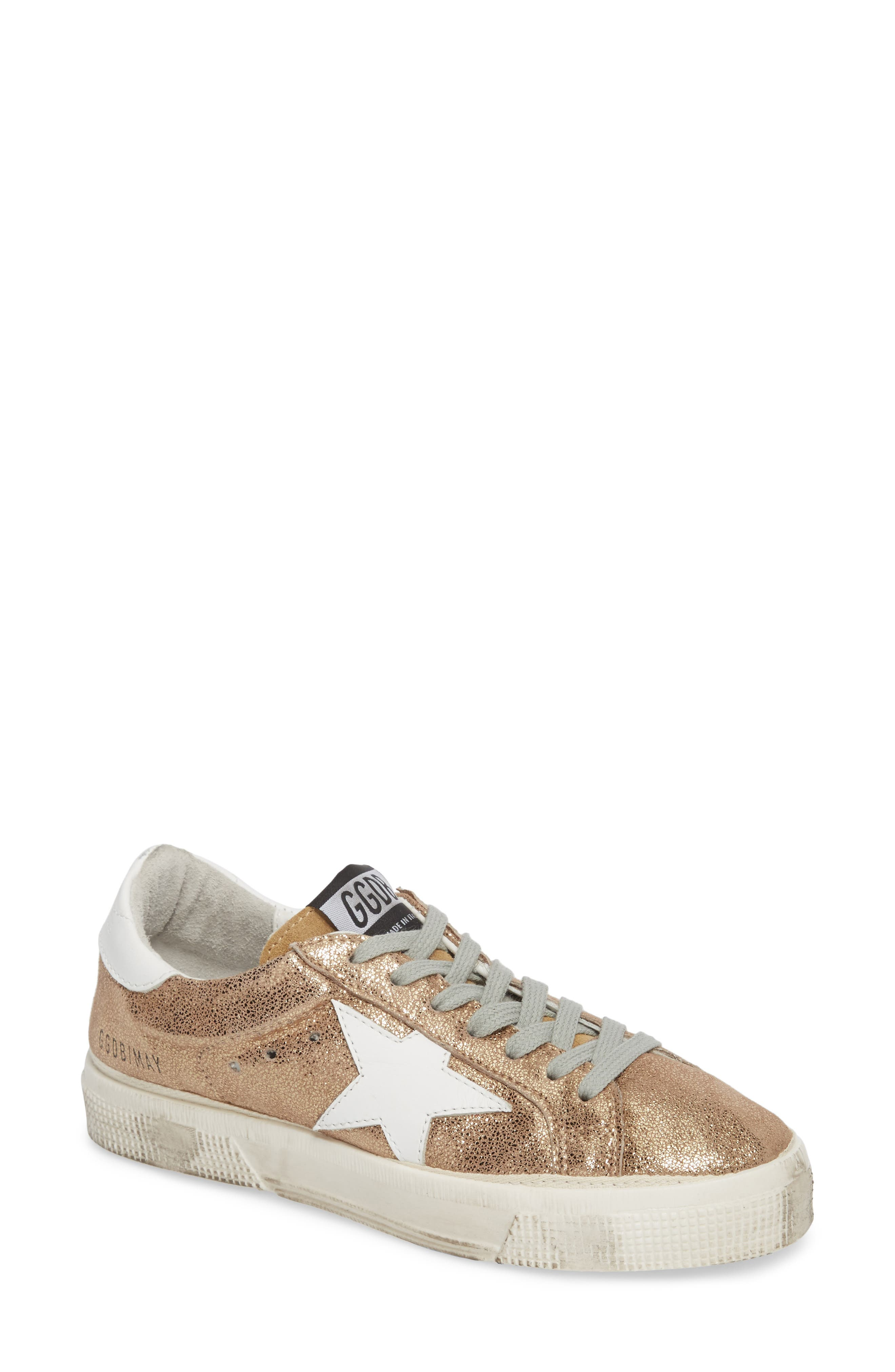 May Metallic Low Top Sneaker,                         Main,                         color, Gold/ White