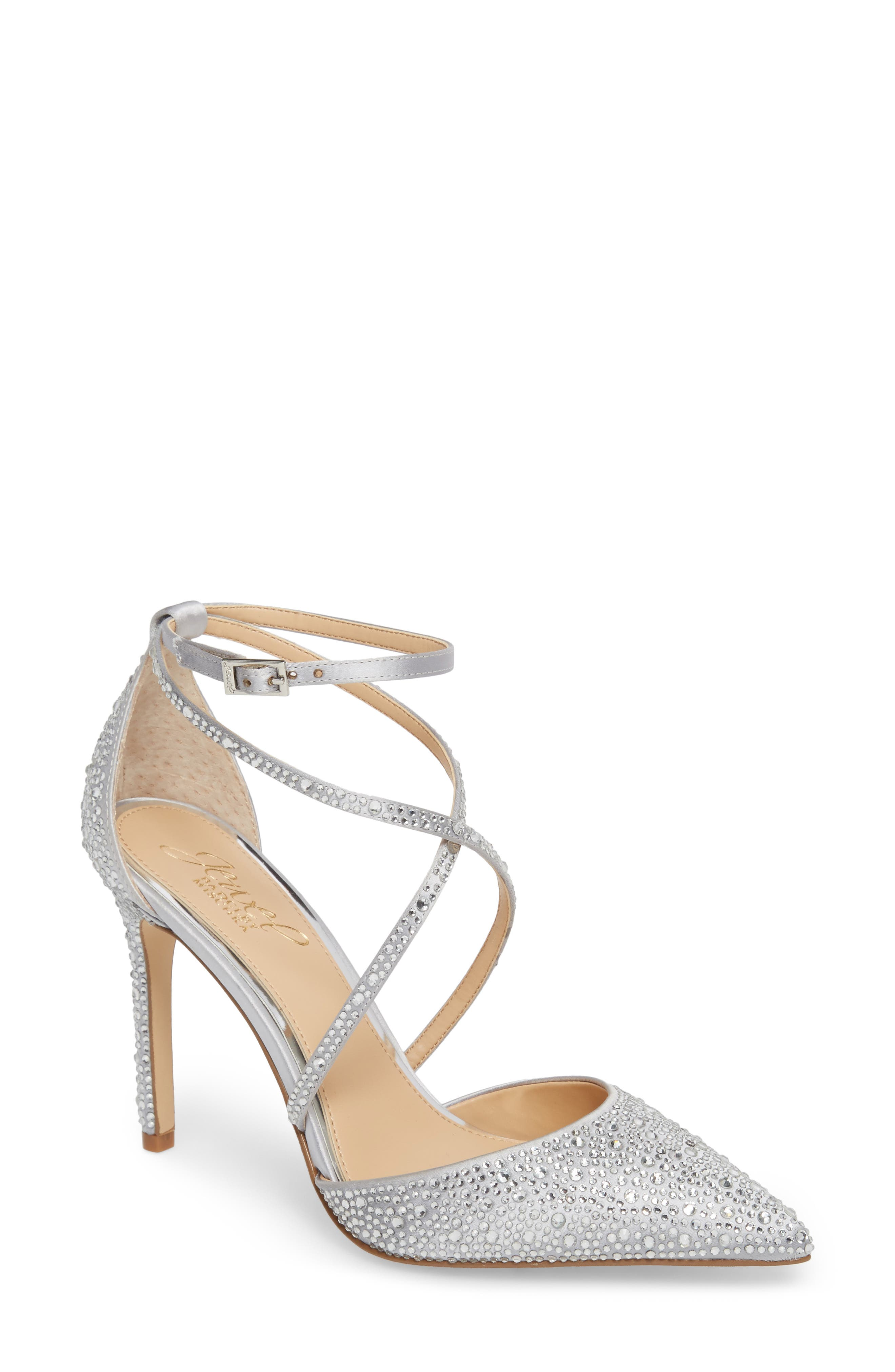 Jewel Badgley Mischka Tanya Embellished Pointy Toe Pump (Women)