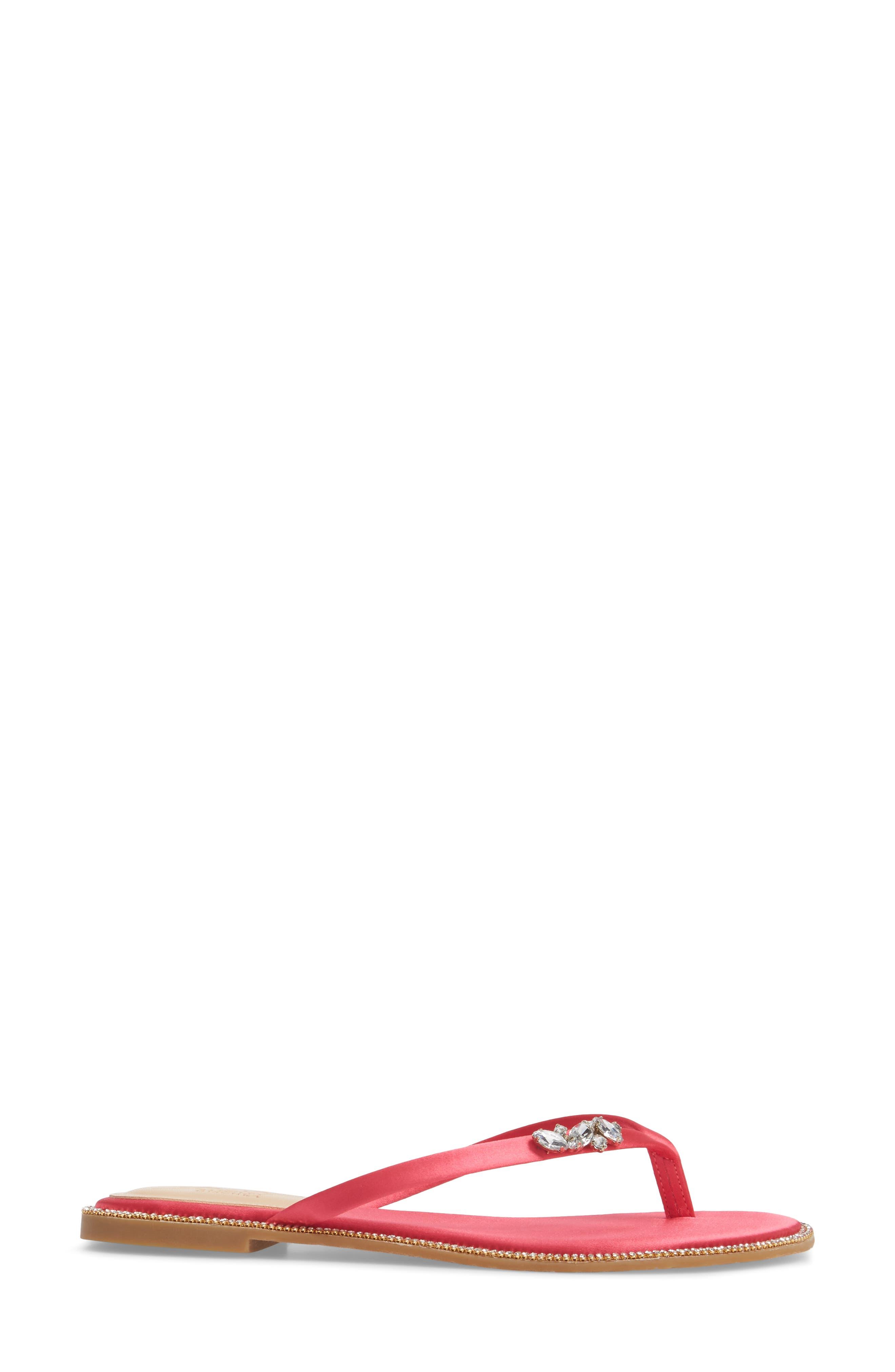 Thalia Crystal Embellished Flip Flop,                             Alternate thumbnail 3, color,                             Pink Leather