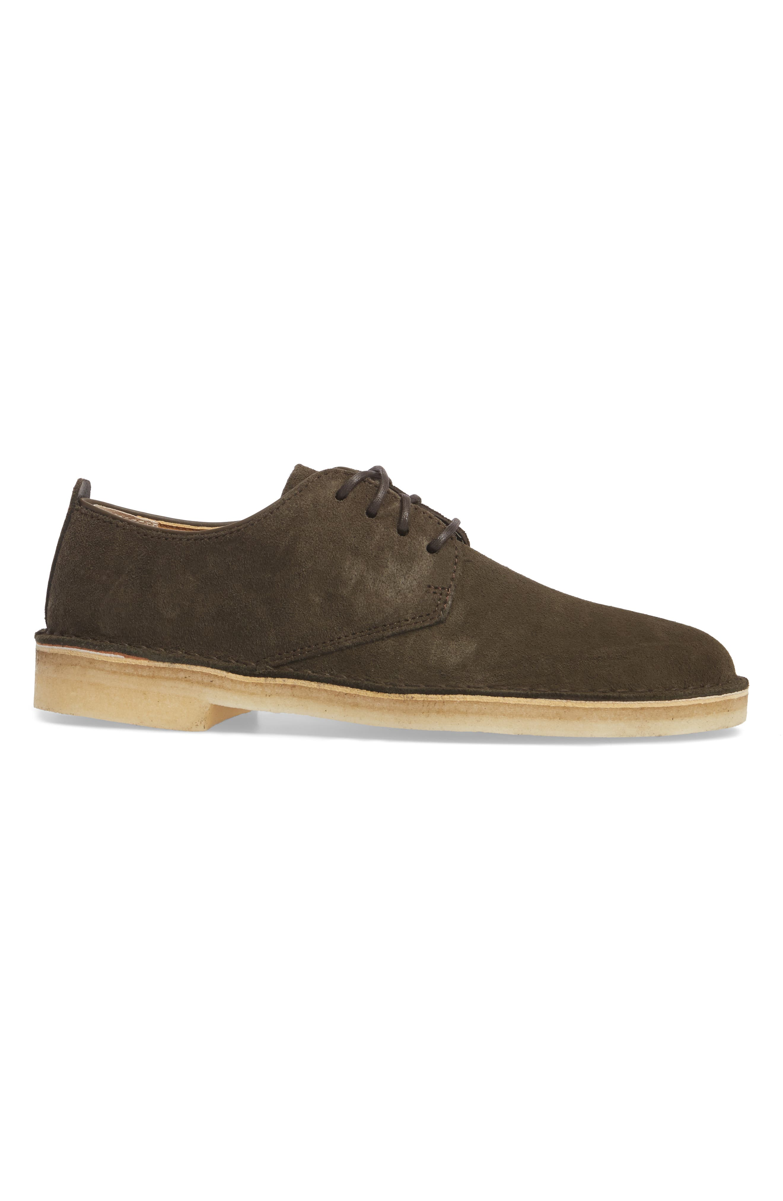 Desert London Suede Plain Toe Derby,                             Alternate thumbnail 3, color,                             Peat Suede