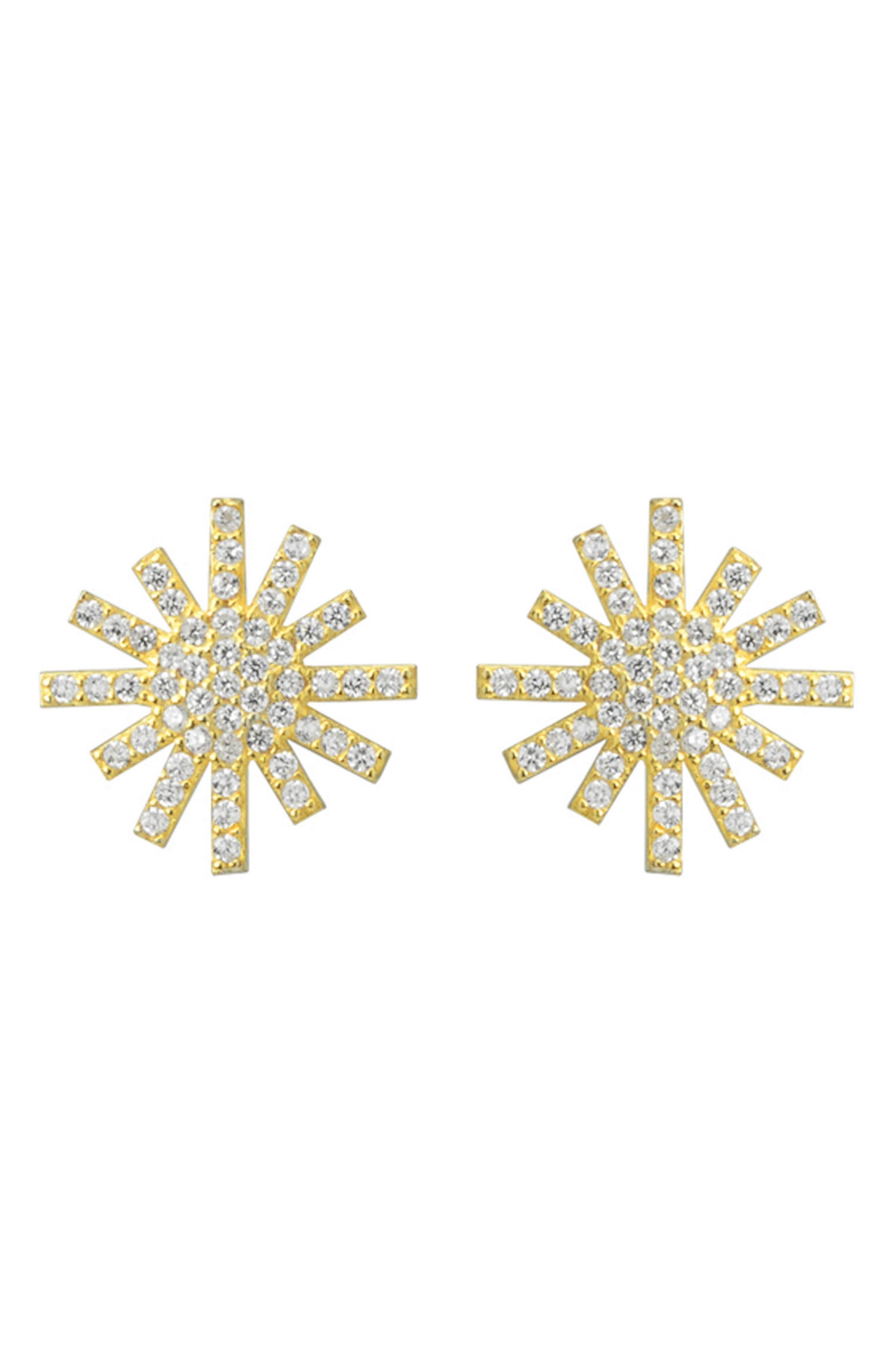 Starburst Stud Earrings,                         Main,                         color, Metallic Gold