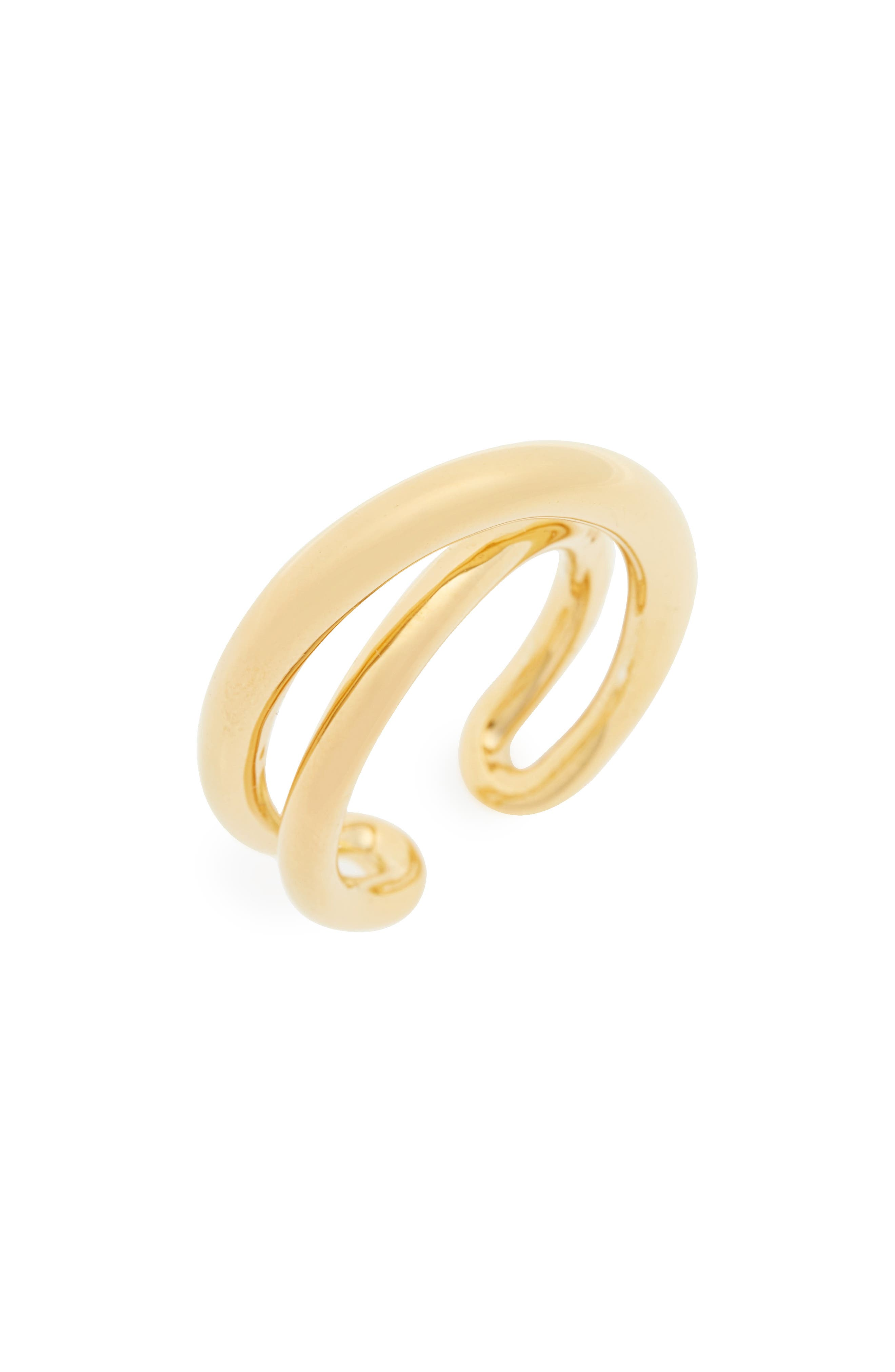 Index Initial Vermeil Open Ring,                         Main,                         color, Yellow Vermeil