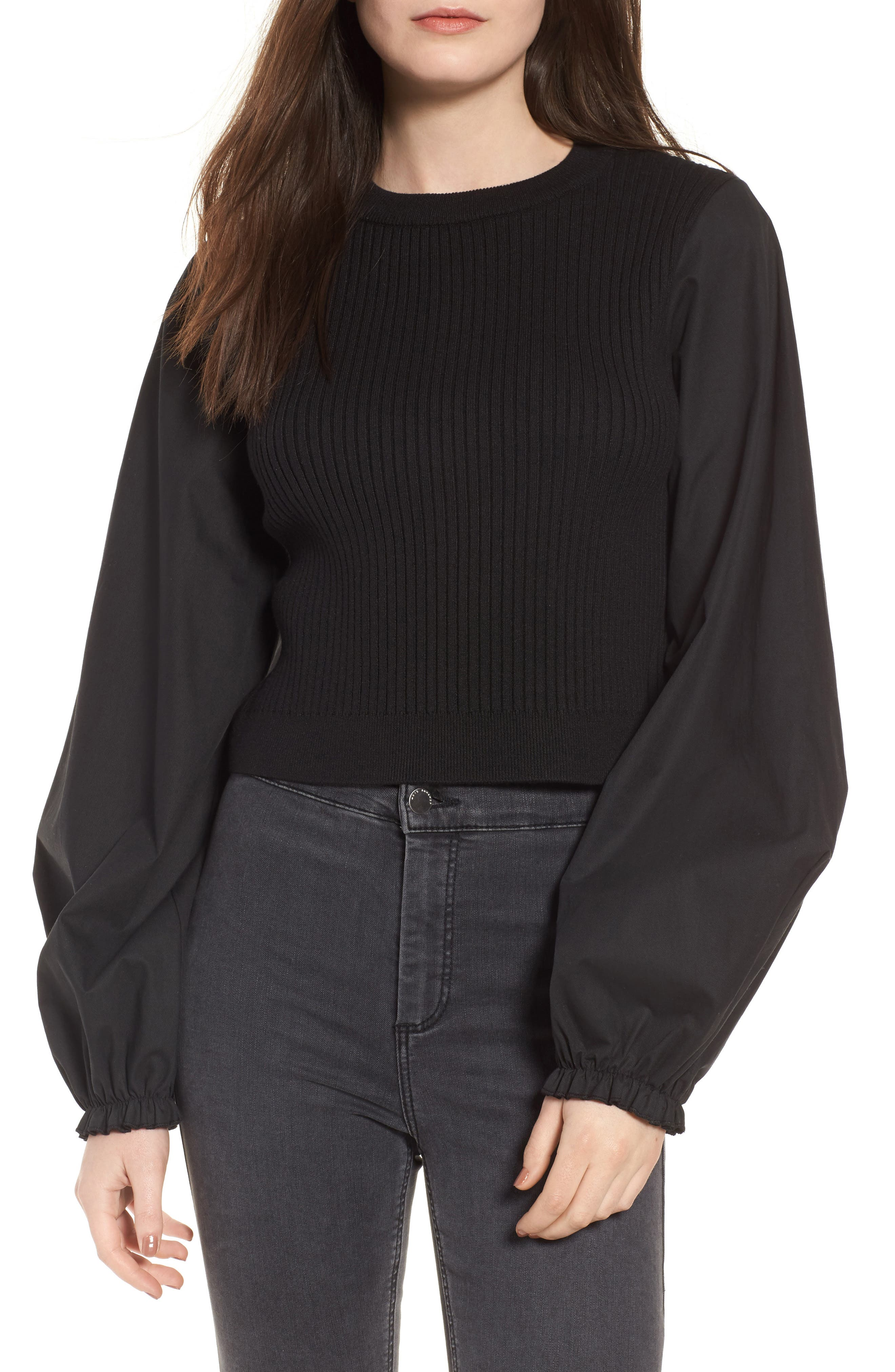 Topshop Mixed Media Puff Sleeve Top