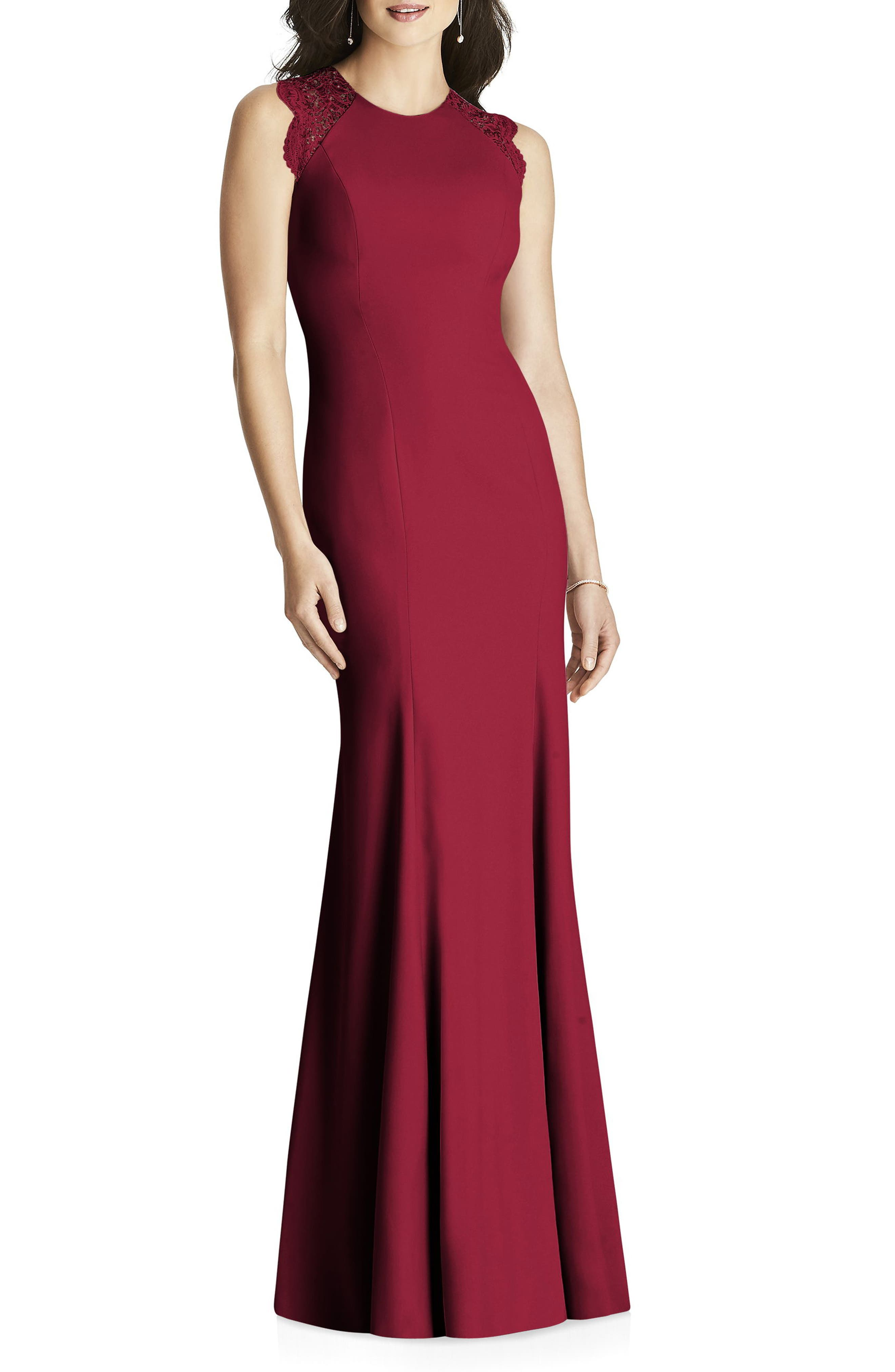 Lace Back Crepe Gown,                             Main thumbnail 1, color,                             Burgundy
