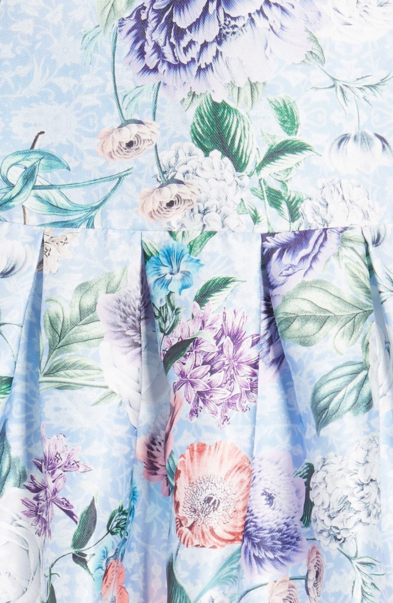 Floral Cross Back Dress,                             Alternate thumbnail 5, color,                             Blue Multi