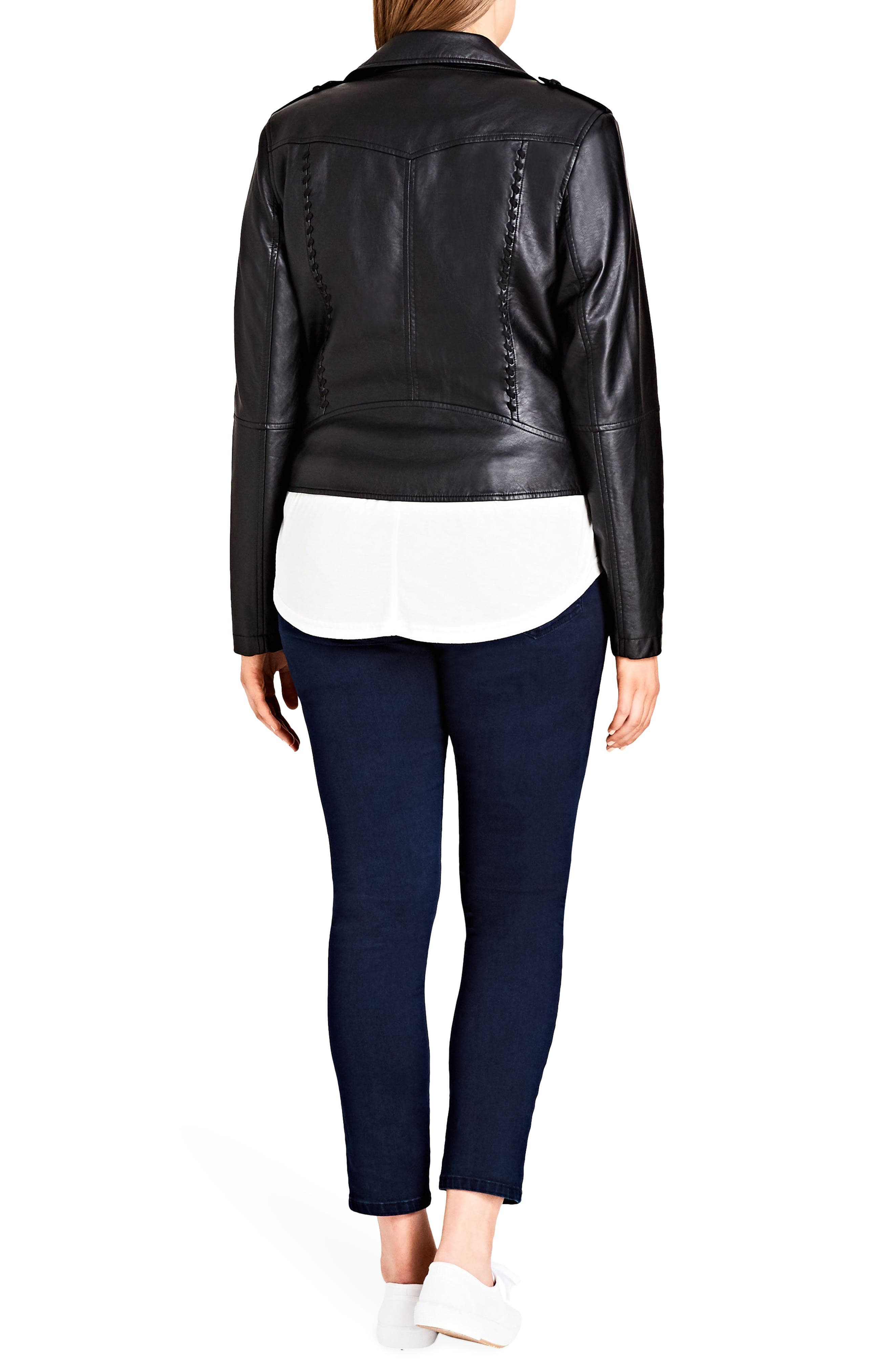 Alternate Image 2  - City Chic Whipstitched Biker Jacket (Plus Size)