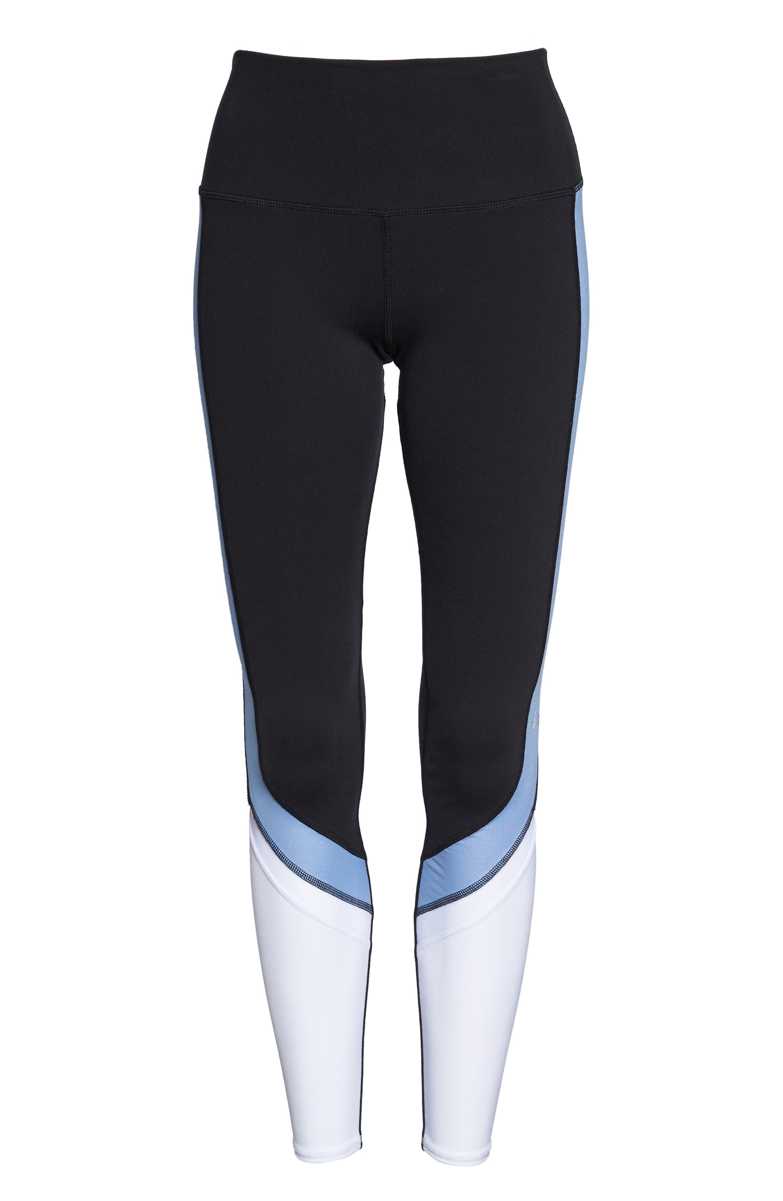 Elevate Leggings,                             Alternate thumbnail 7, color,                             Black/ Uv Blue Glossy/ White