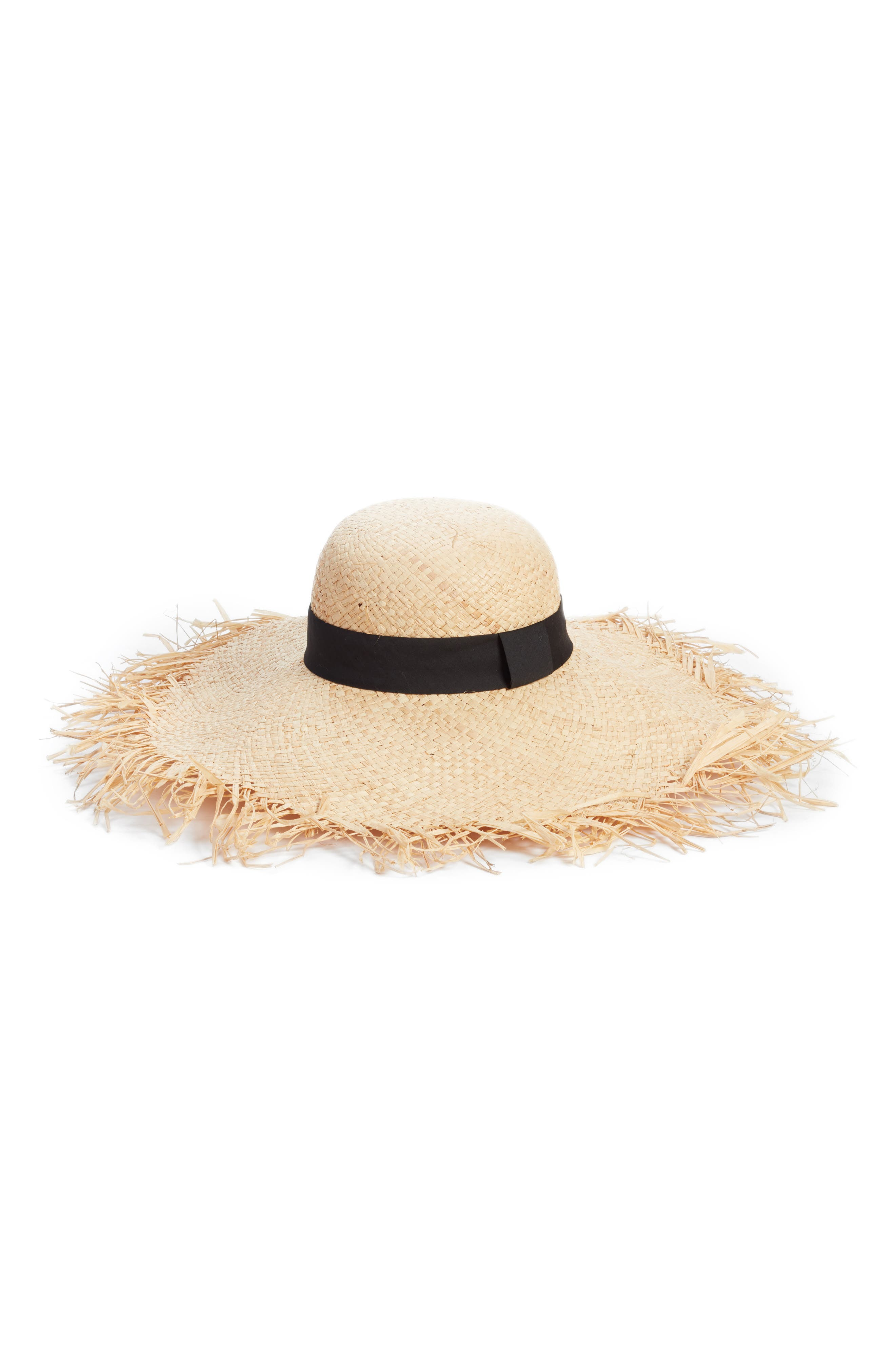 Raw Edge Floppy Straw Hat,                             Main thumbnail 1, color,                             Natural