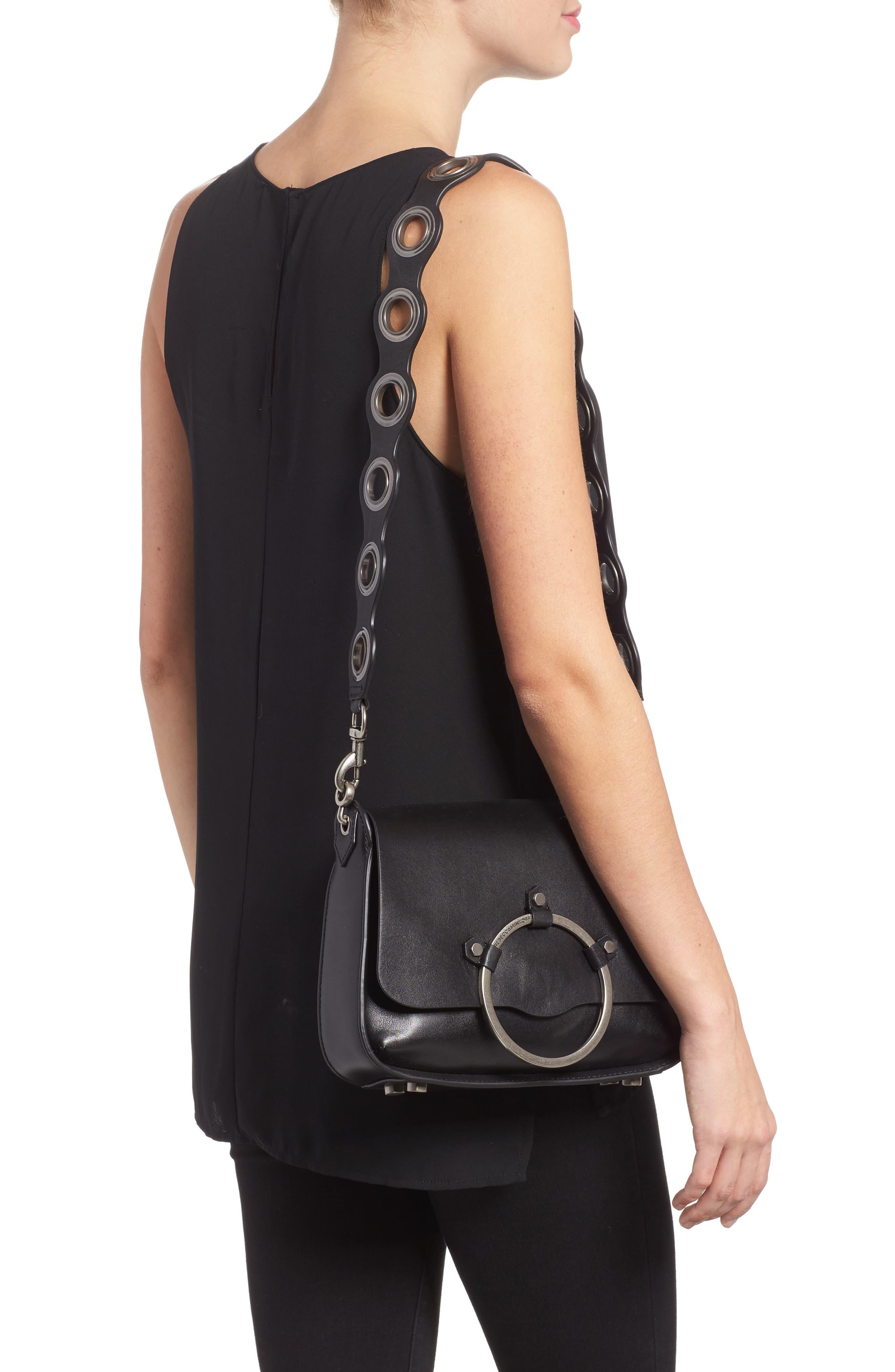 Ring Leather Shoulder Bag,                             Alternate thumbnail 2, color,                             Black