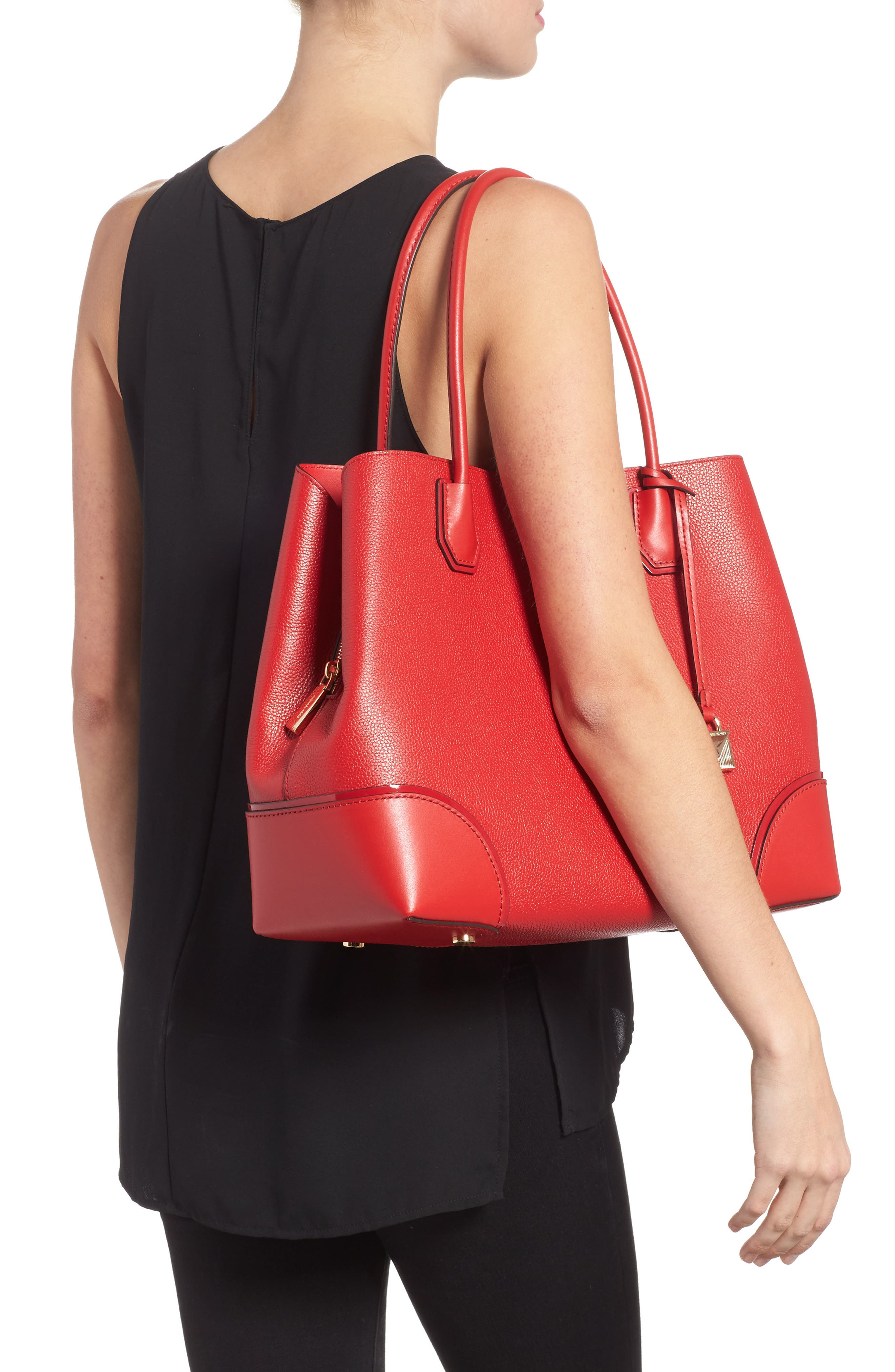 MICHAEL Michael Kors Large Mercer Leather Tote,                             Alternate thumbnail 2, color,                             Bright Red