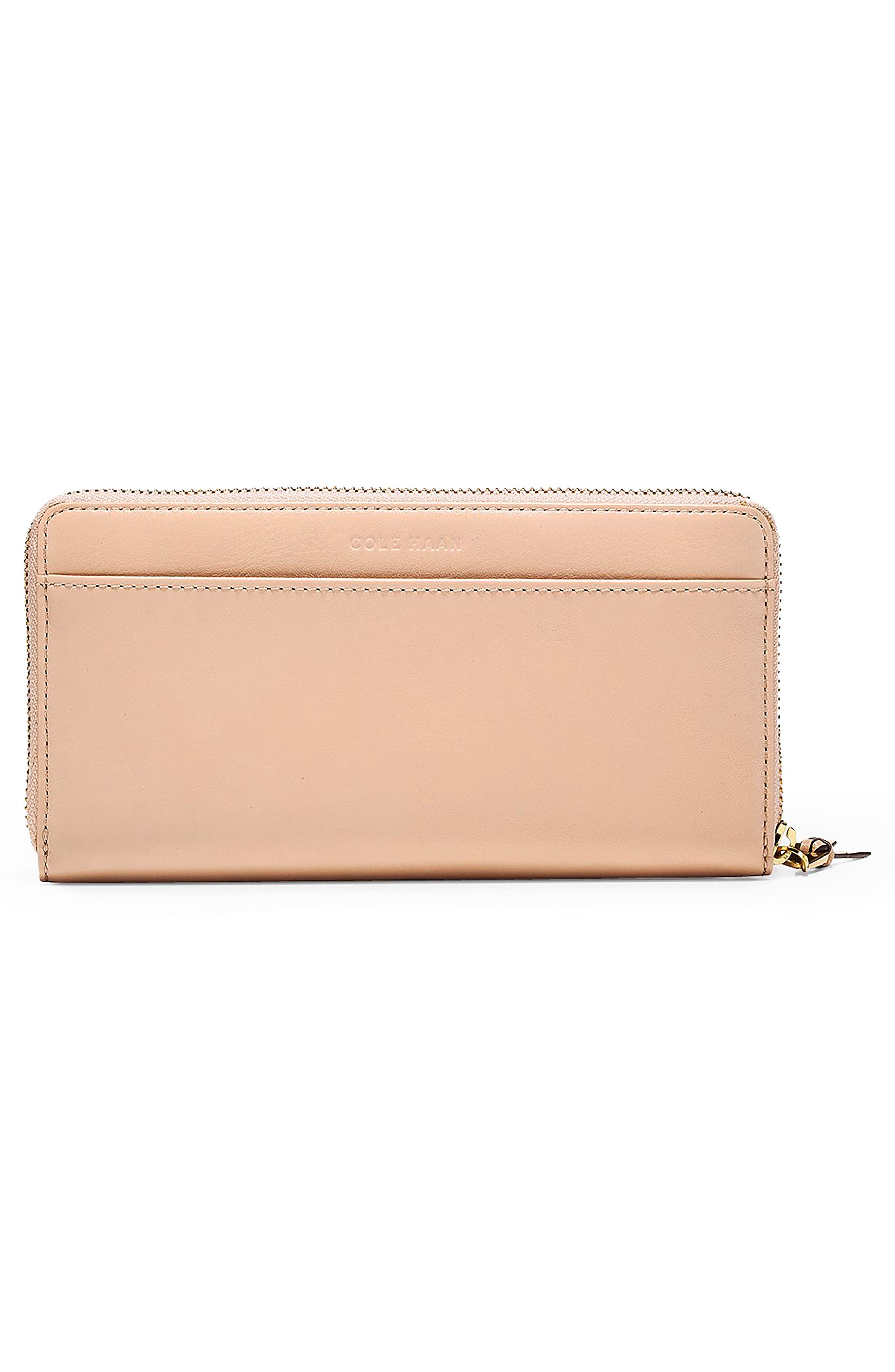 Marli Studded Metallic Leather Continental Wallet,                             Alternate thumbnail 3, color,                             Pink Nude