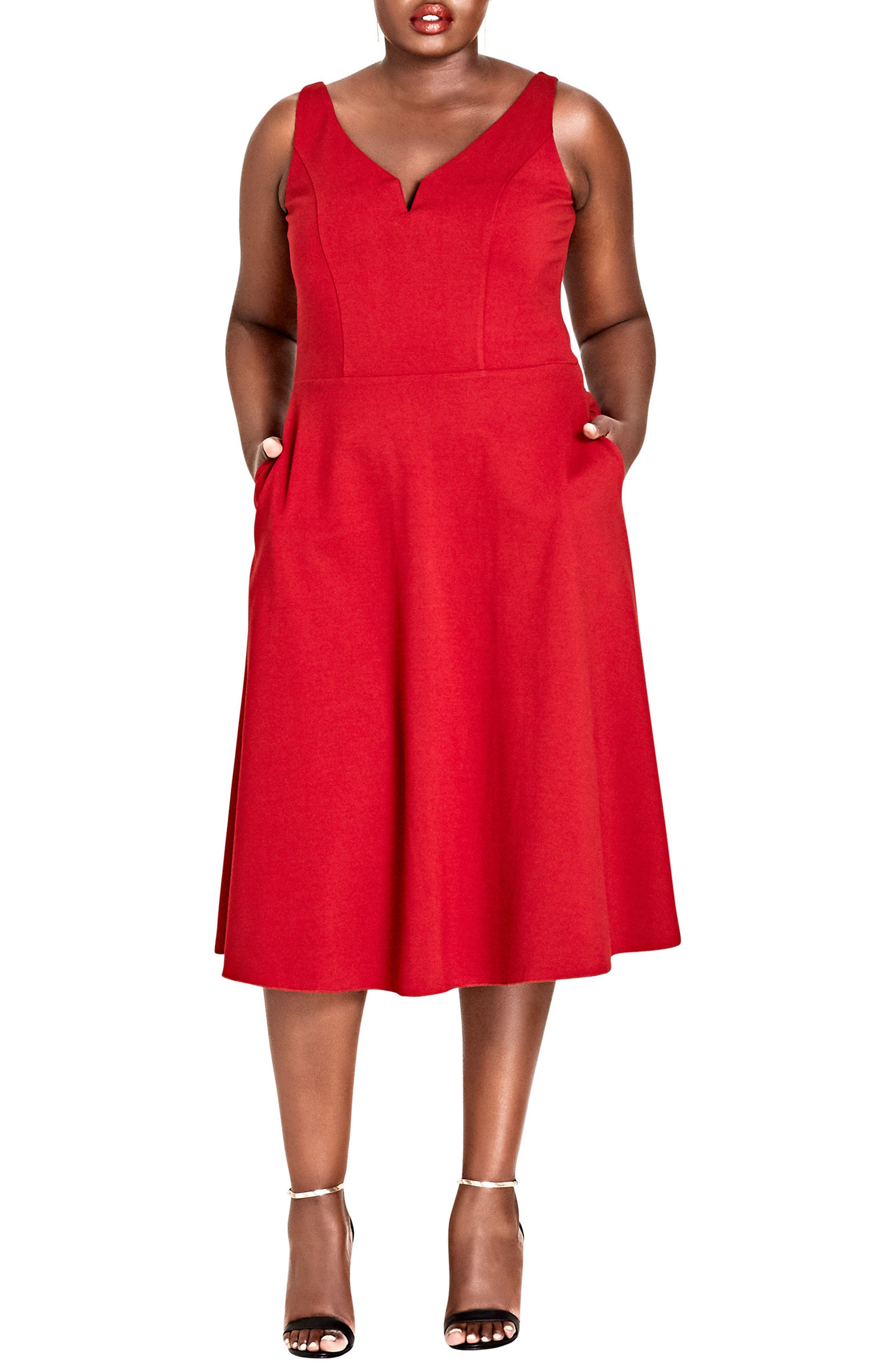 Alternate Image 1 Selected - City Chic Cute Girl Fit & Flare Midi Dress (Plus Size)