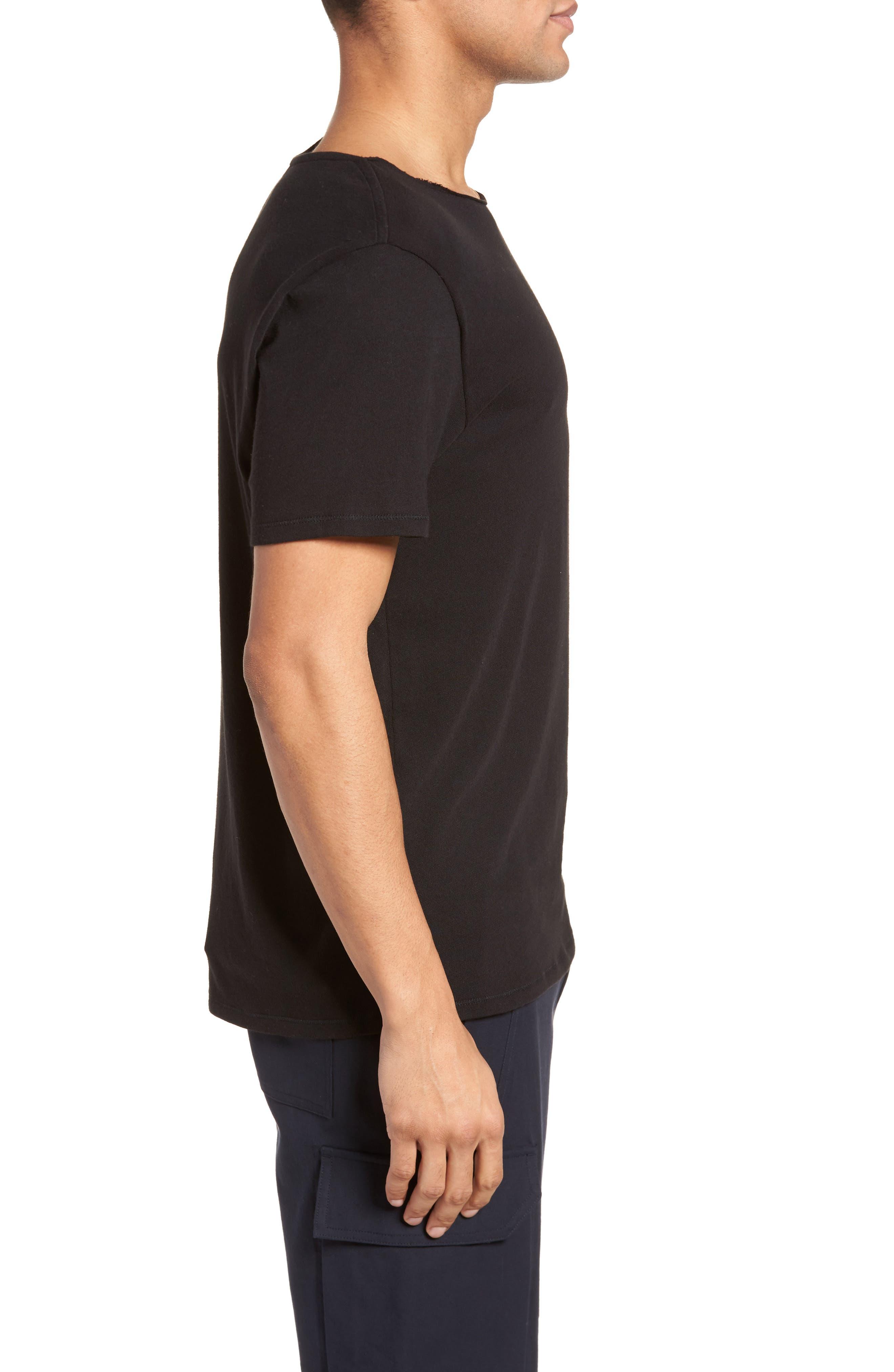 Raw Edge T-Shirt,                             Alternate thumbnail 3, color,                             Black