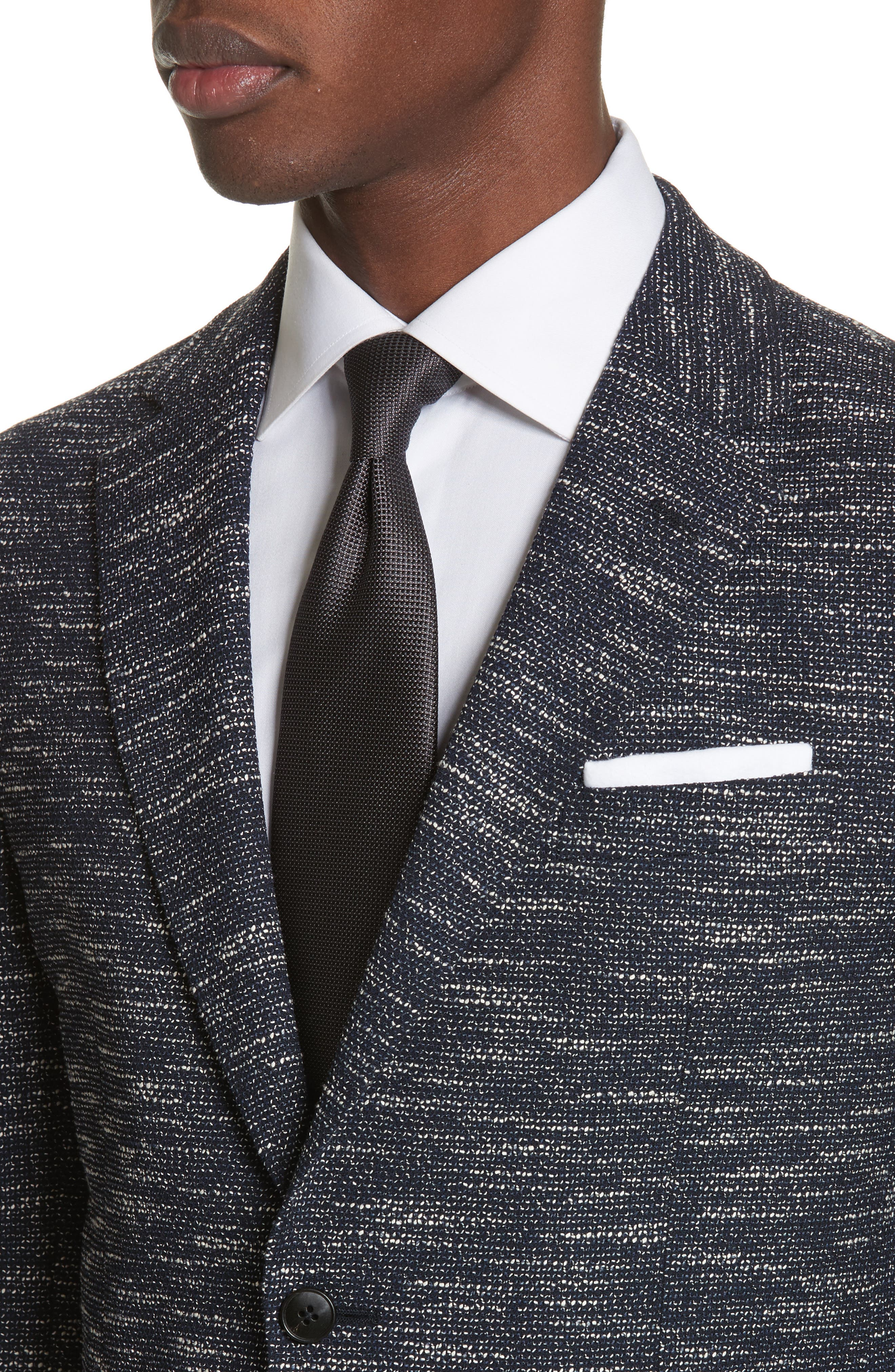 Classic Fit Stretch Wool Blend Blazer,                             Alternate thumbnail 4, color,                             Navy Solid