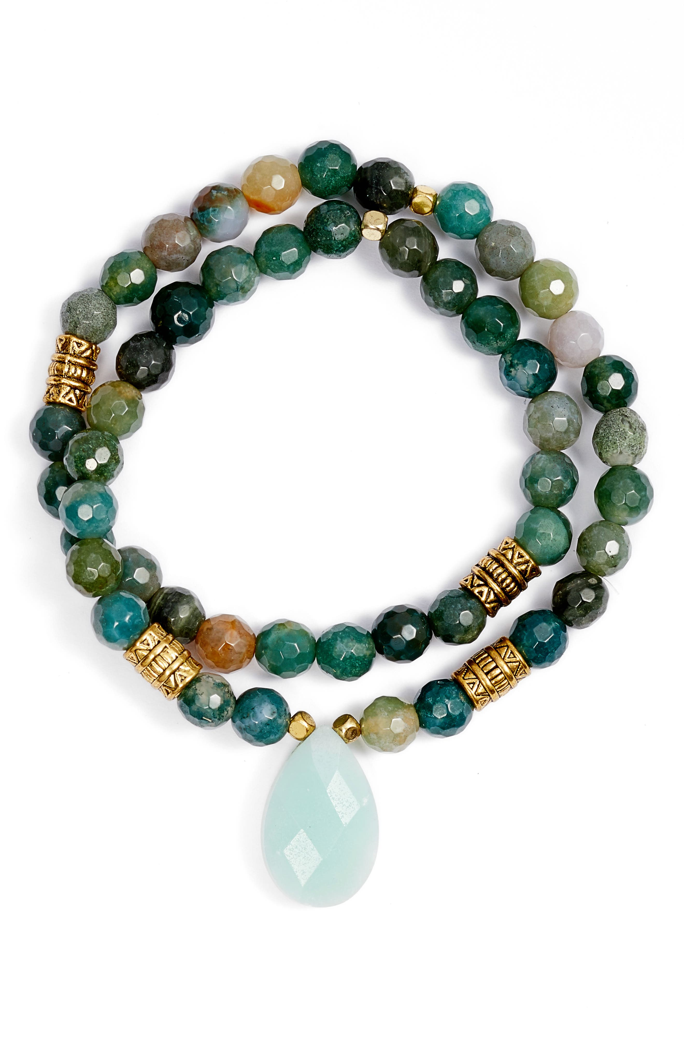Inca Double Stretch Stone Bracelet,                             Main thumbnail 1, color,                             Marbled Jade