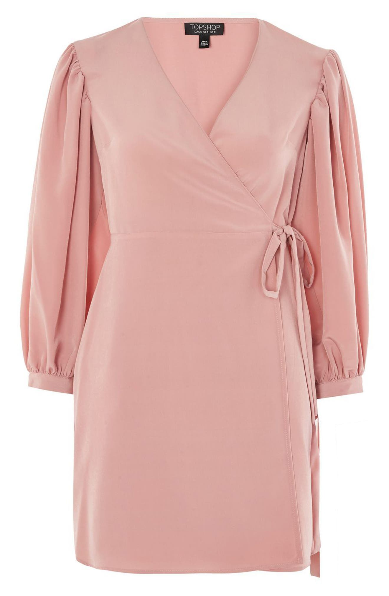 Tie Cuff Wrap Minidress,                             Alternate thumbnail 4, color,                             Blush