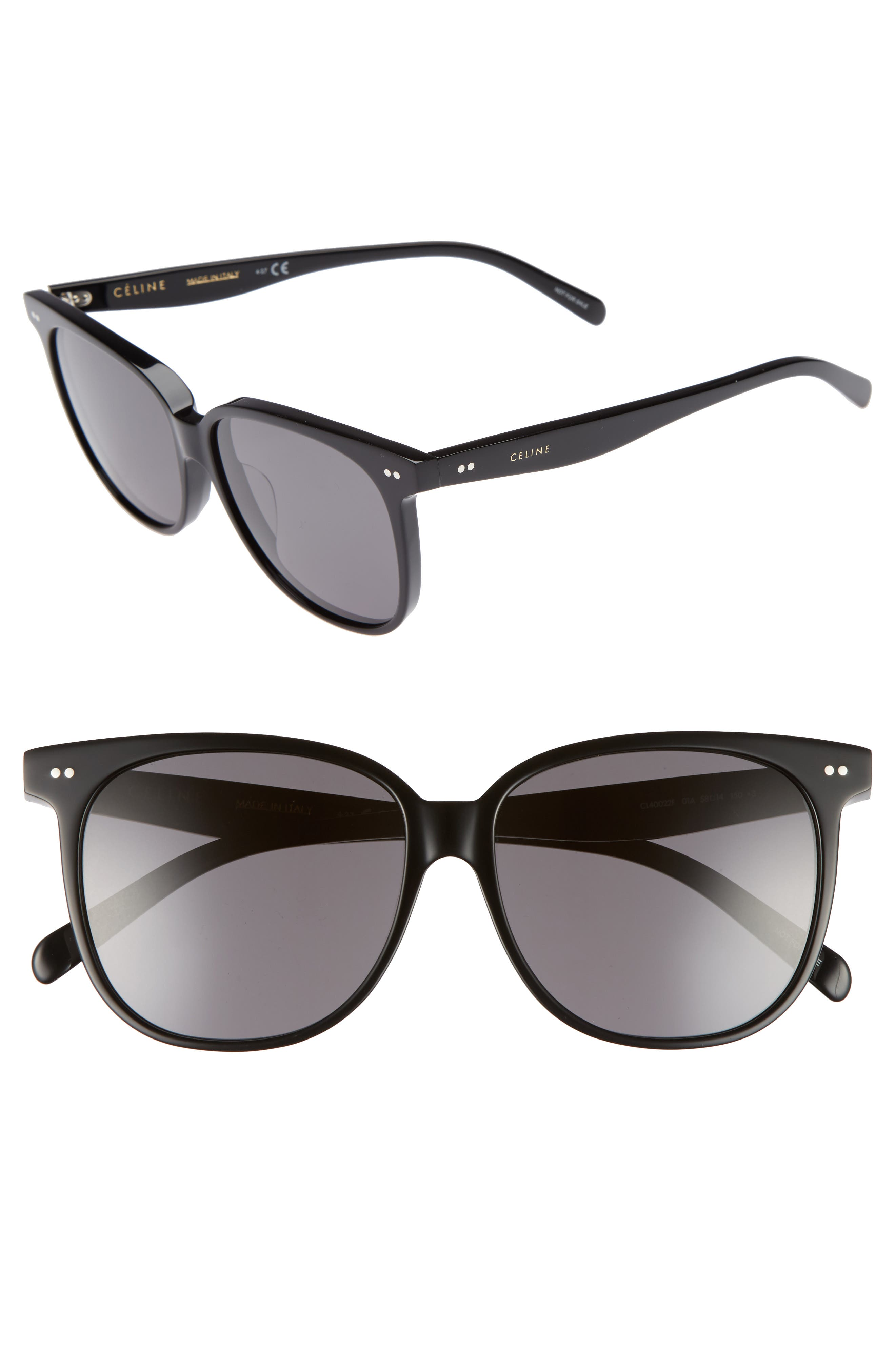 Céline Special Fit 58mm Square Sunglasses