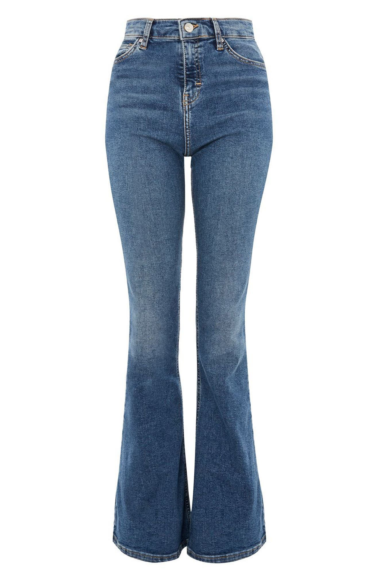 Jamie Flare Leg Jeans,                             Alternate thumbnail 4, color,                             Mid Denim