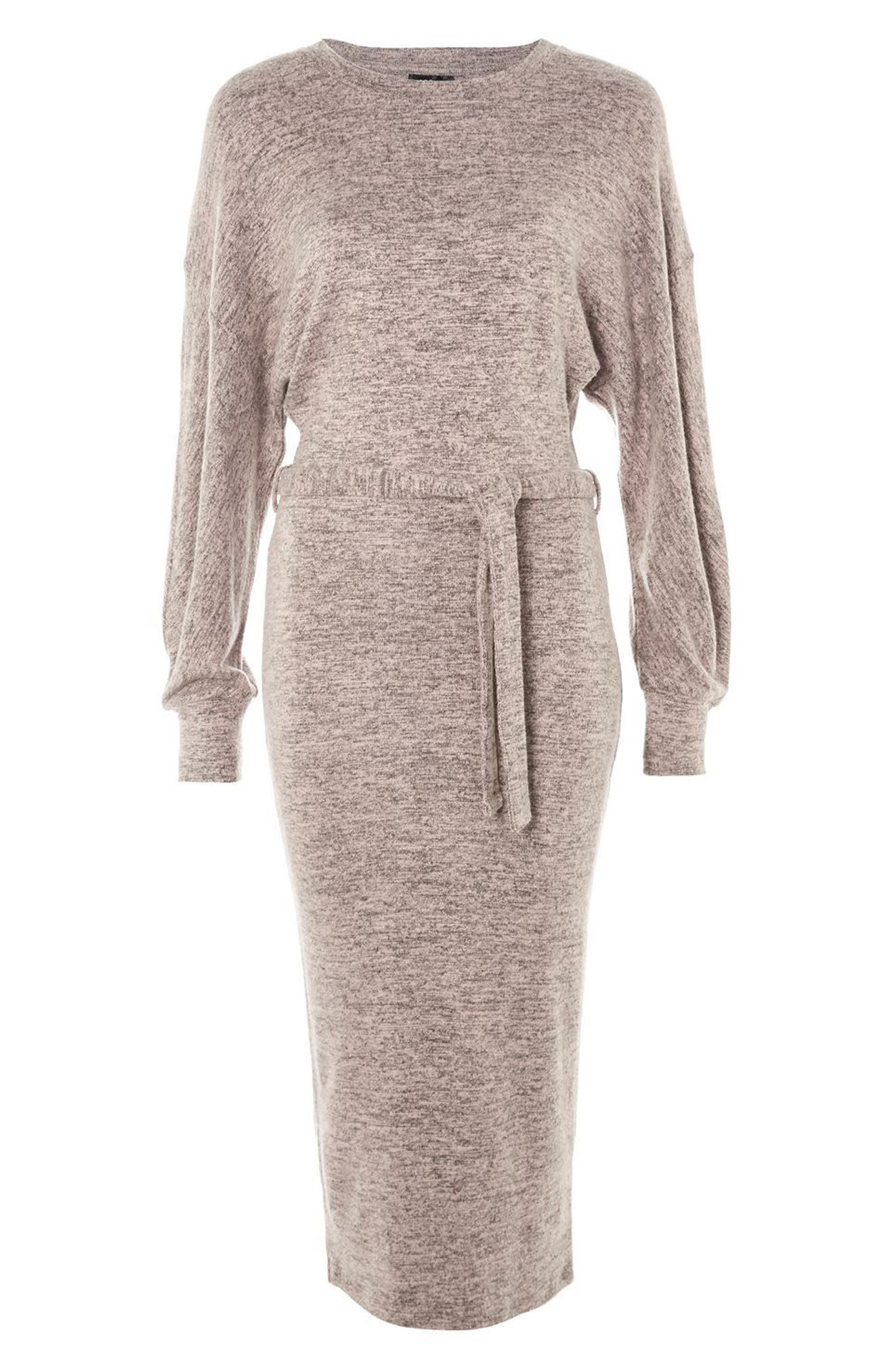 Cut and Sew Sweater Dress,                             Alternate thumbnail 3, color,                             Pink