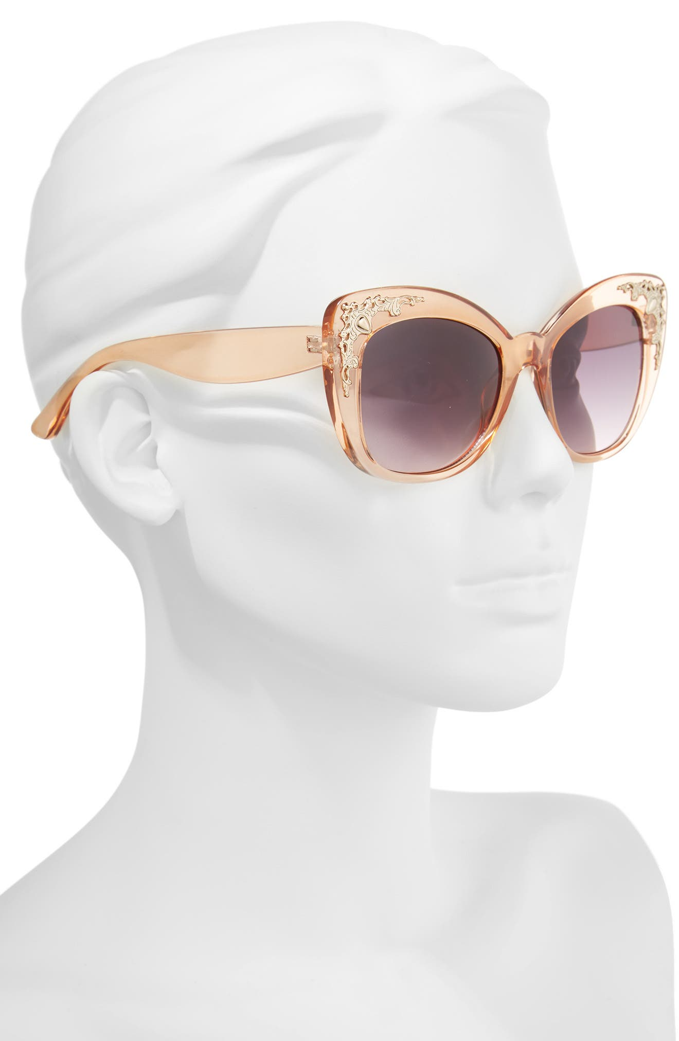 54mm Embellished Cat Eye Sunglasses,                             Alternate thumbnail 2, color,                             Gold