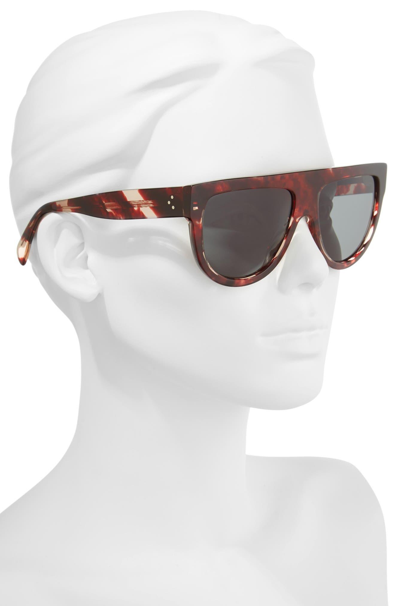 7c4379bf29 C line 50mm Square Sunglasses Source · Shop Celine Flat Top Sunglasses  Striped Red Havana Green