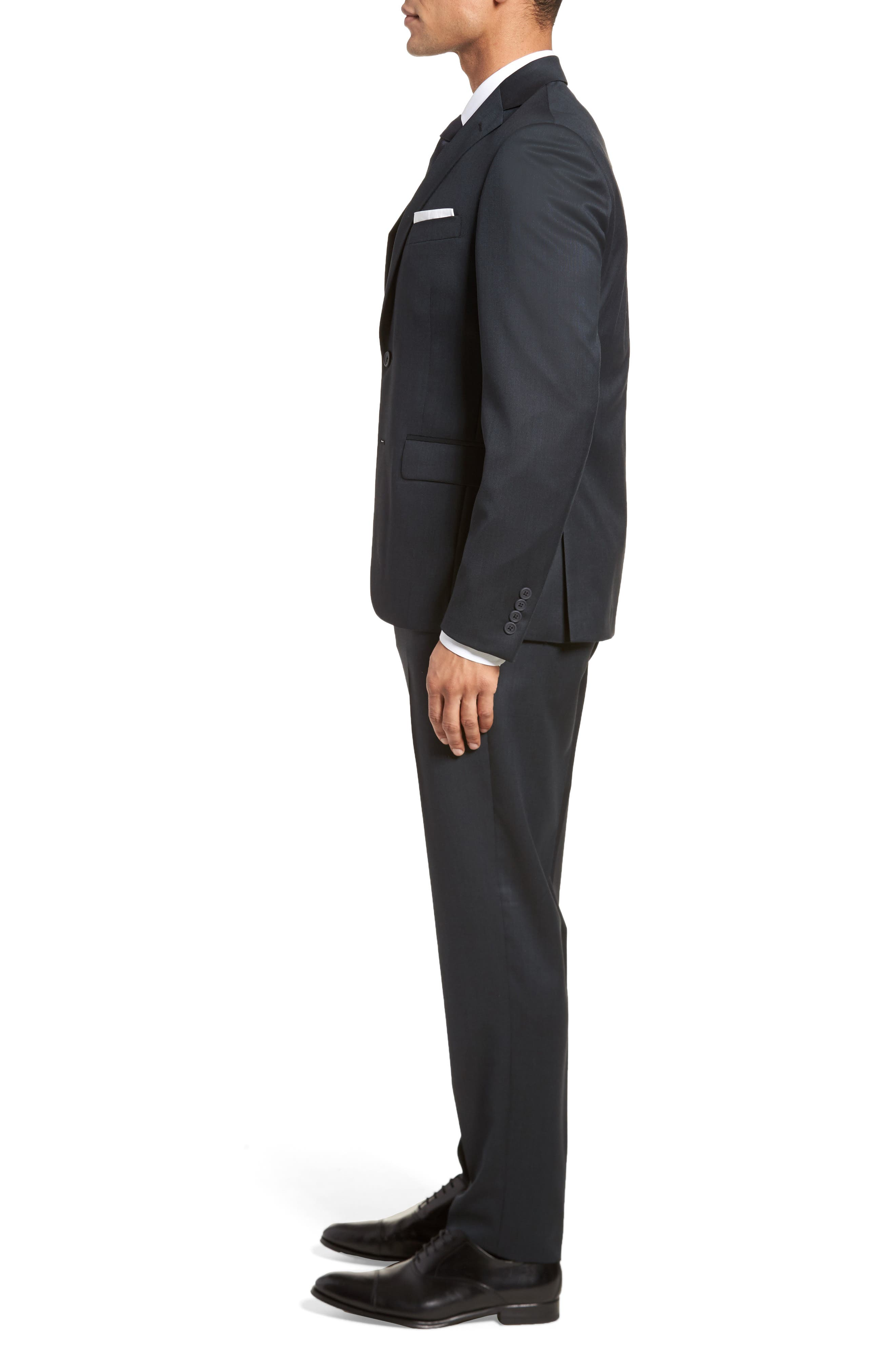 Extra Trim Fit Solid Wool Suit,                             Alternate thumbnail 3, color,                             Navy