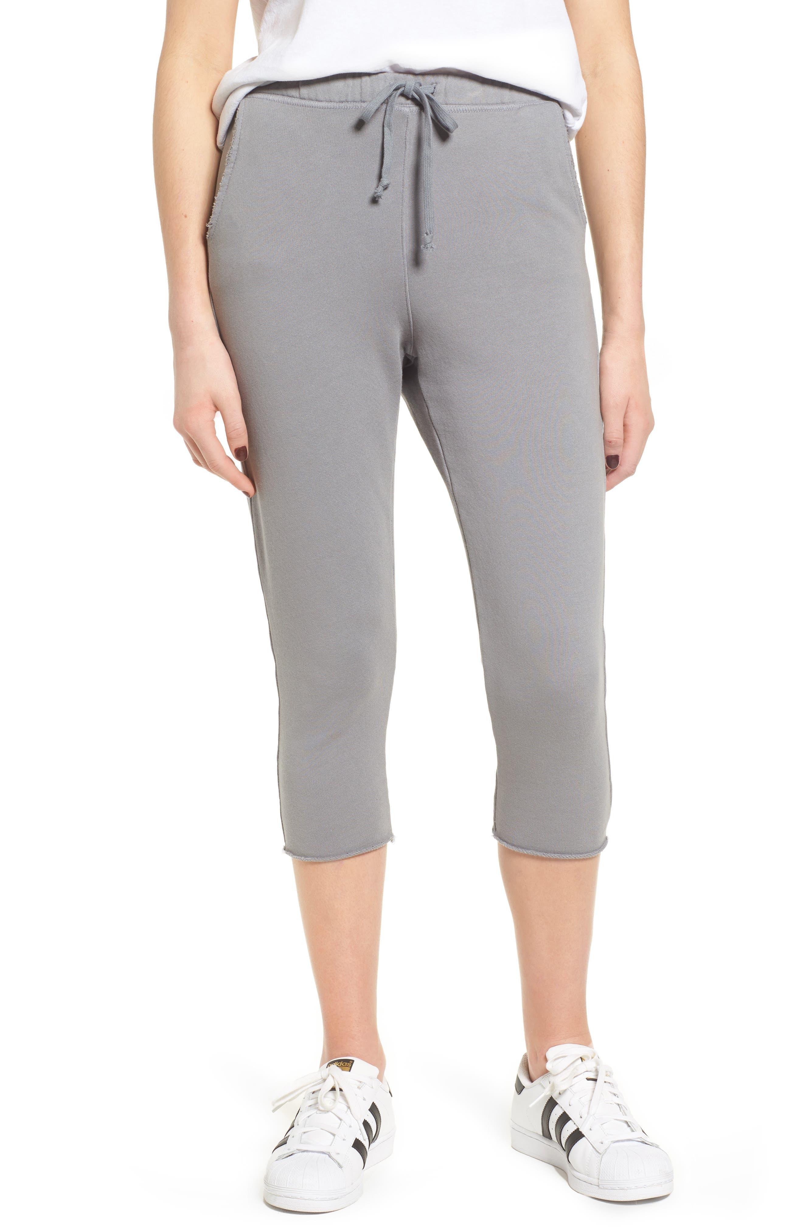 Tee Lab Raw Hem Crop Sweatpants,                             Main thumbnail 1, color,                             Shadow