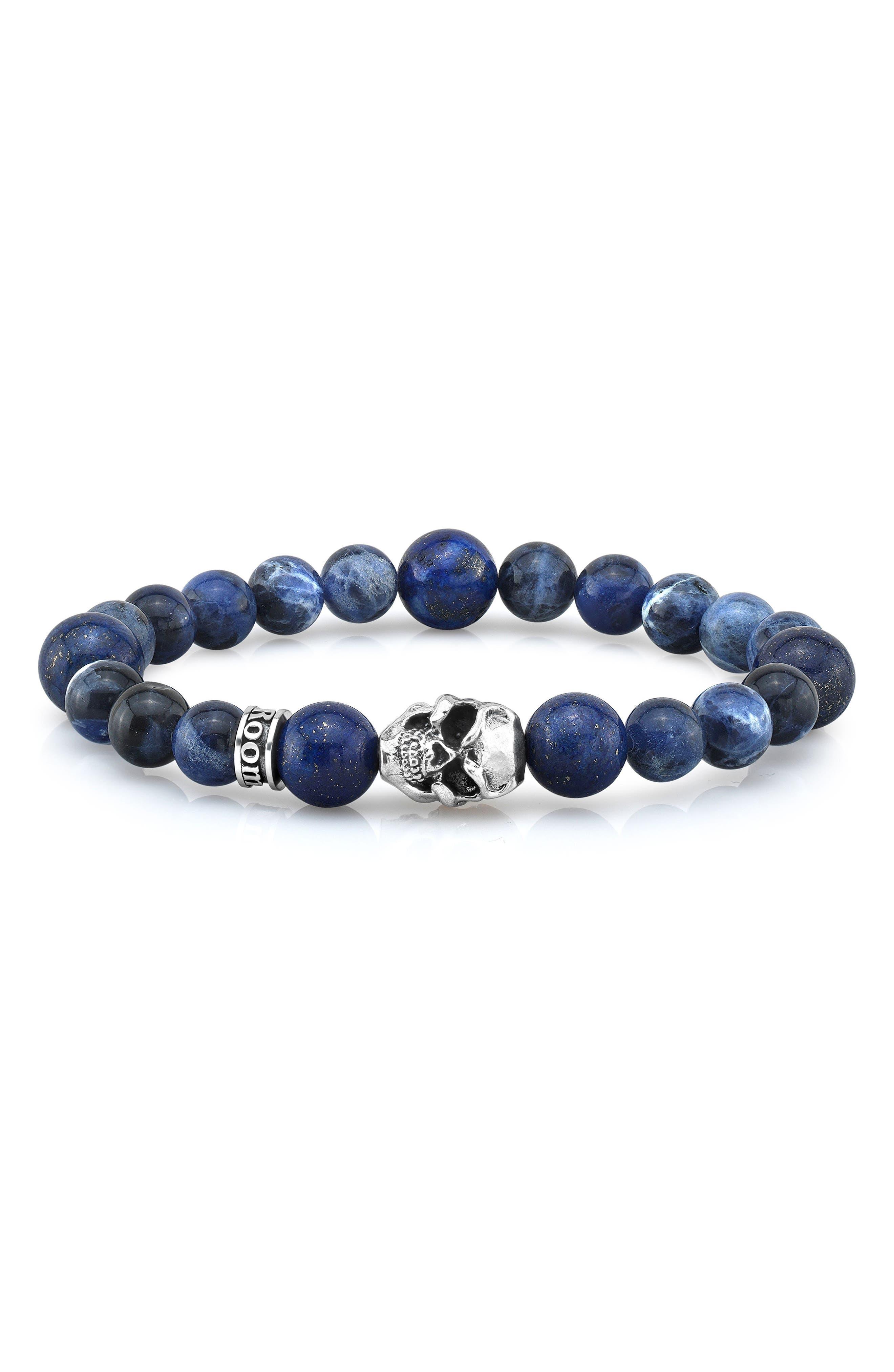 Sodalite & Lapis Lazuli Bead Bracelet,                             Main thumbnail 1, color,                             Blue